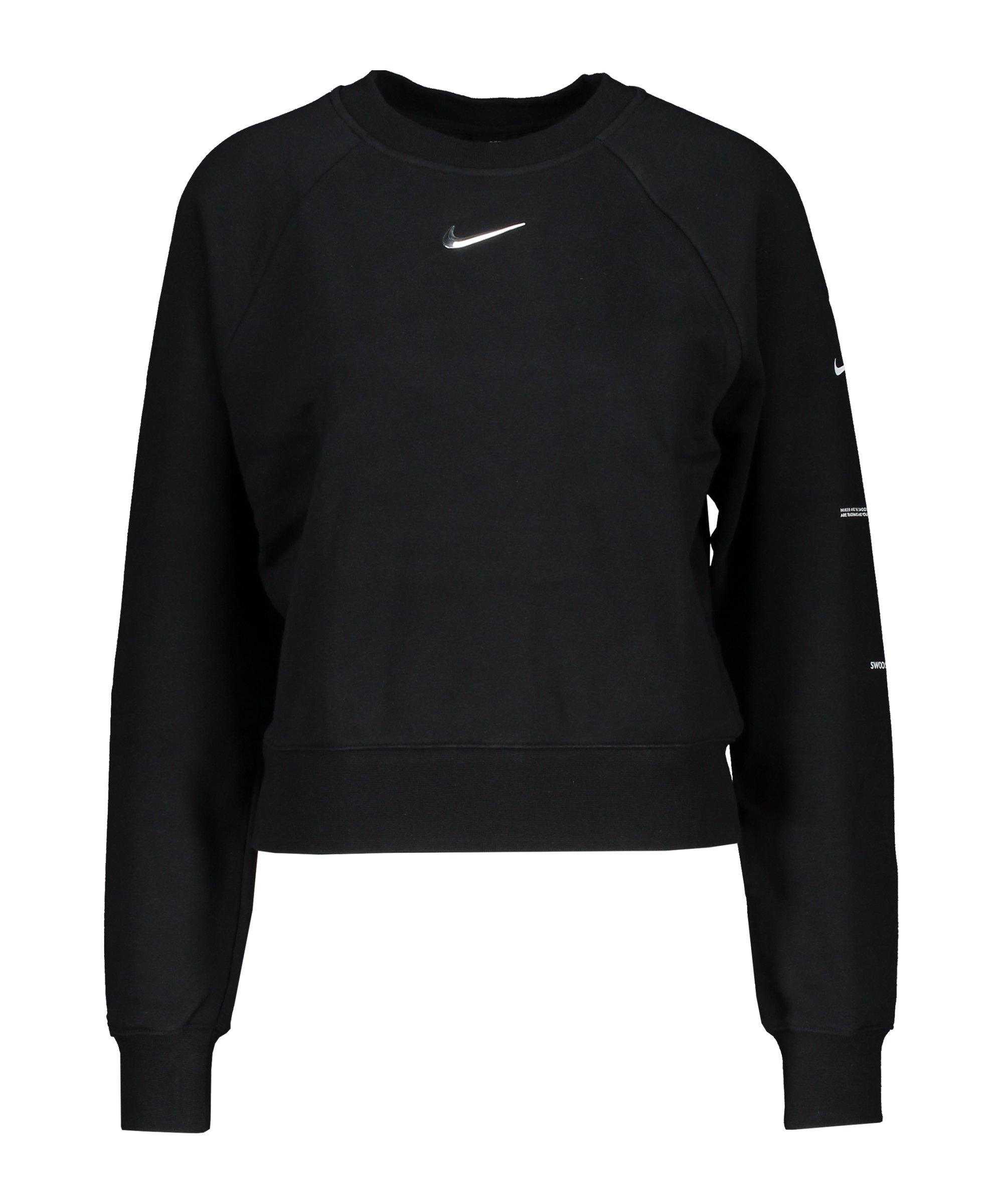 Nike Swoosh Crew Sweatshirt Damen Schwarz F010 - schwarz