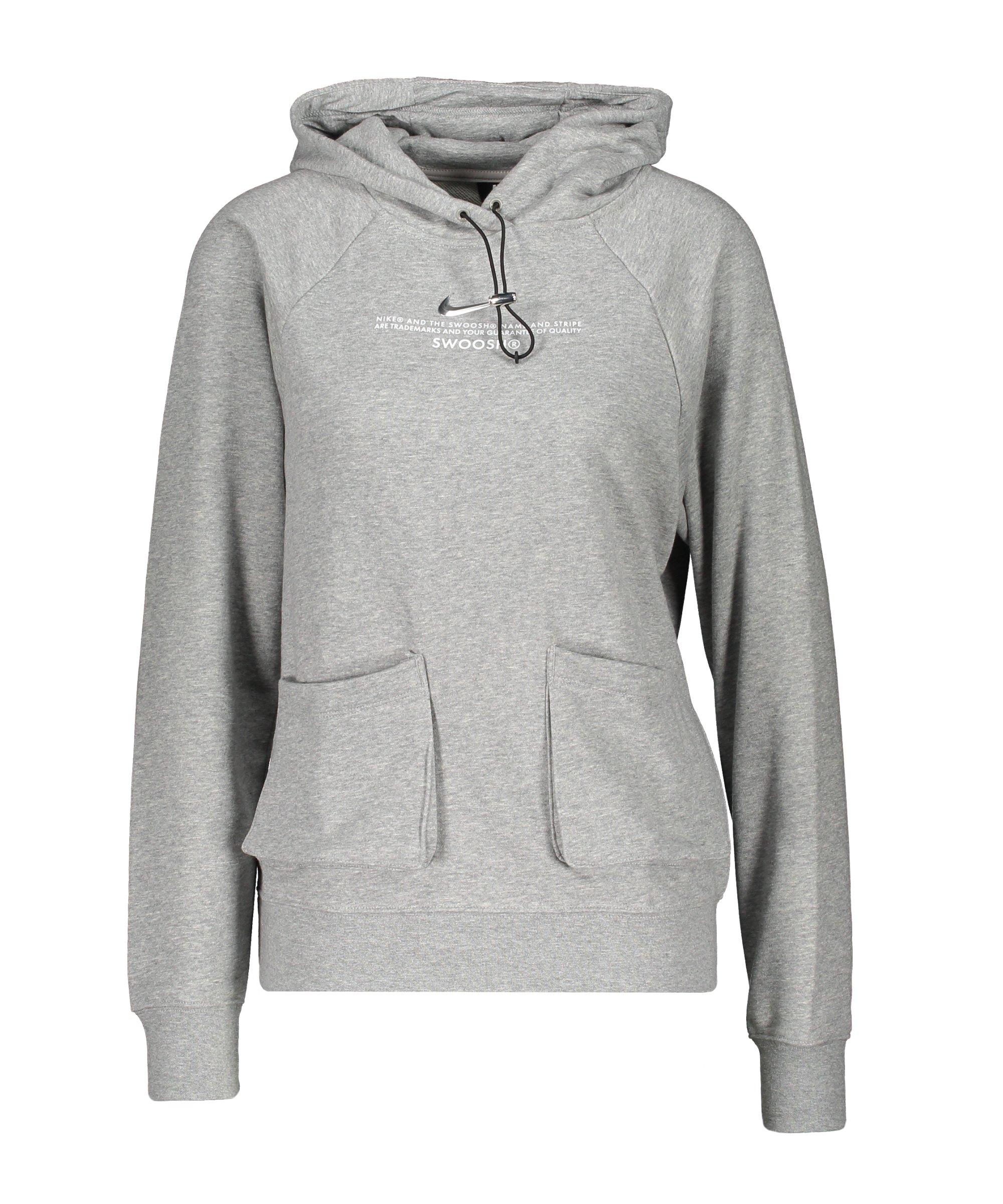 Nike Swoosh Fleece Hoody Damen Grau Weiss F063 - grau