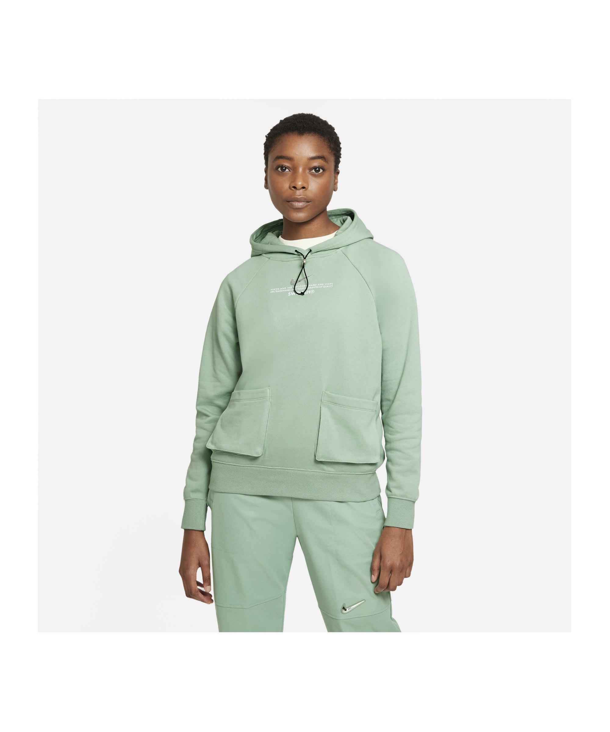 Nike Swoosh Fleece Hoody Damen Grün Weiss F006 - gruen