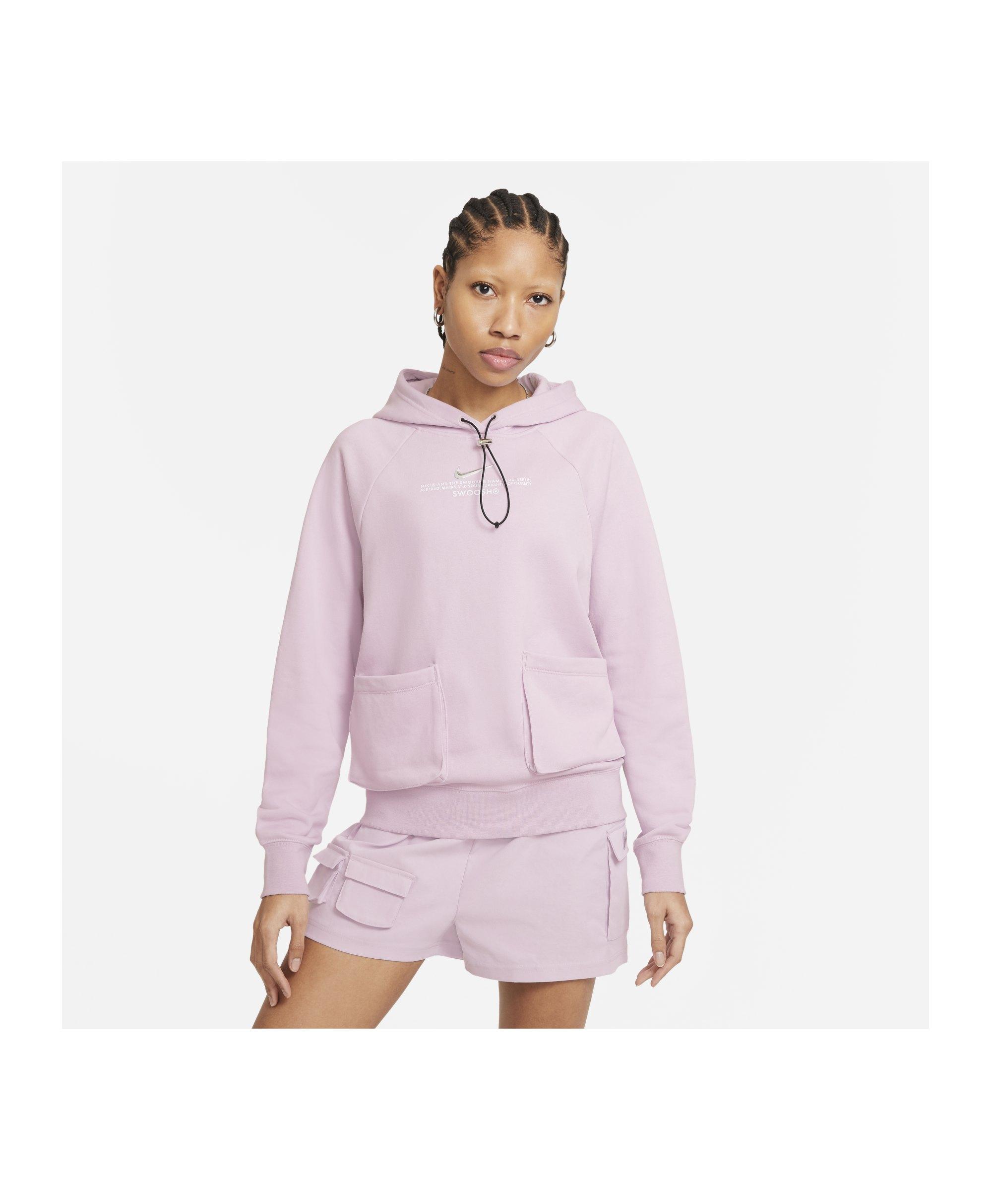 Nike Swoosh Fleece Hoody Damen Lila Weiss F576 - lila