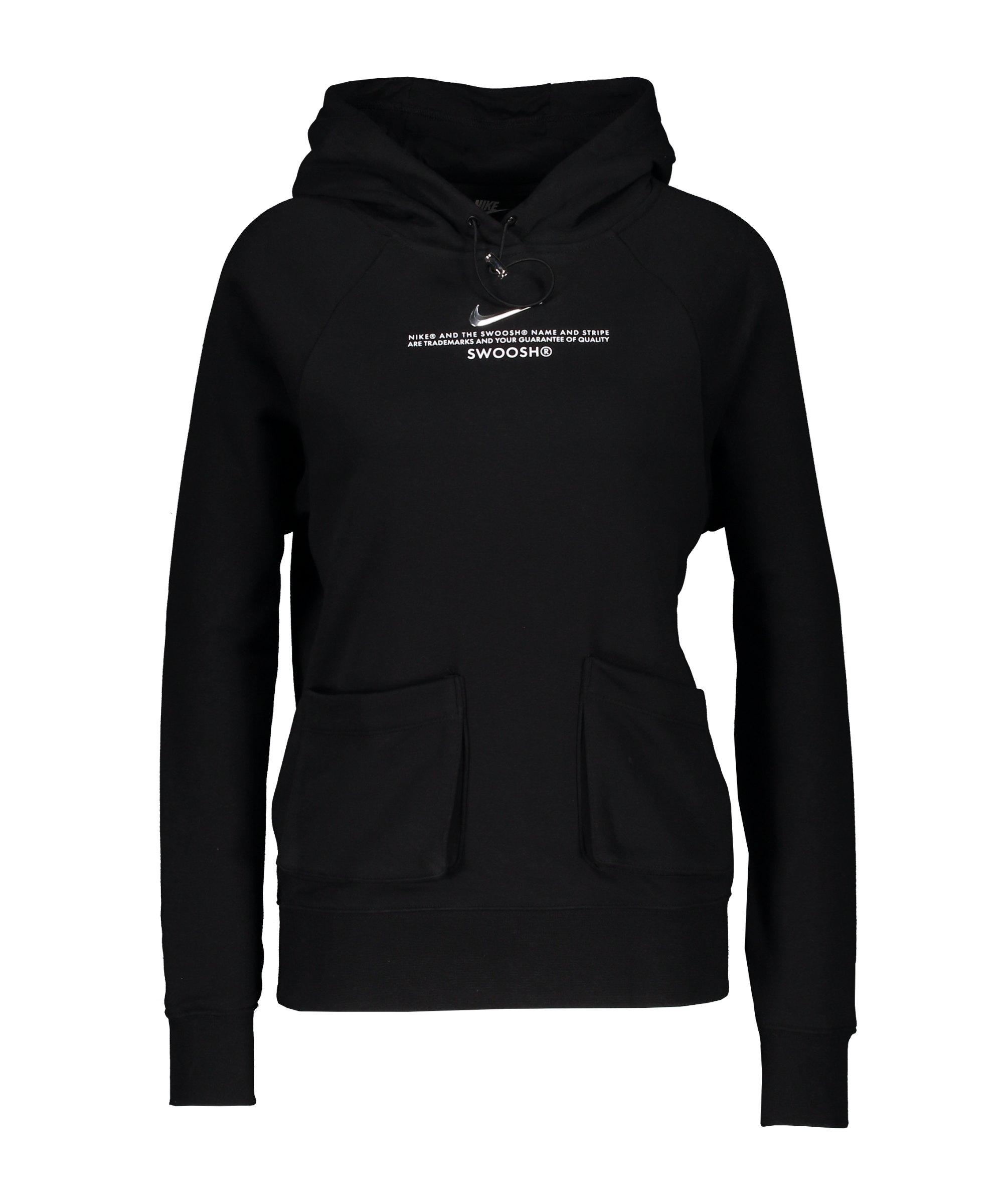 Nike Swoosh Fleece Hoody Damen Schwarz F010 - schwarz