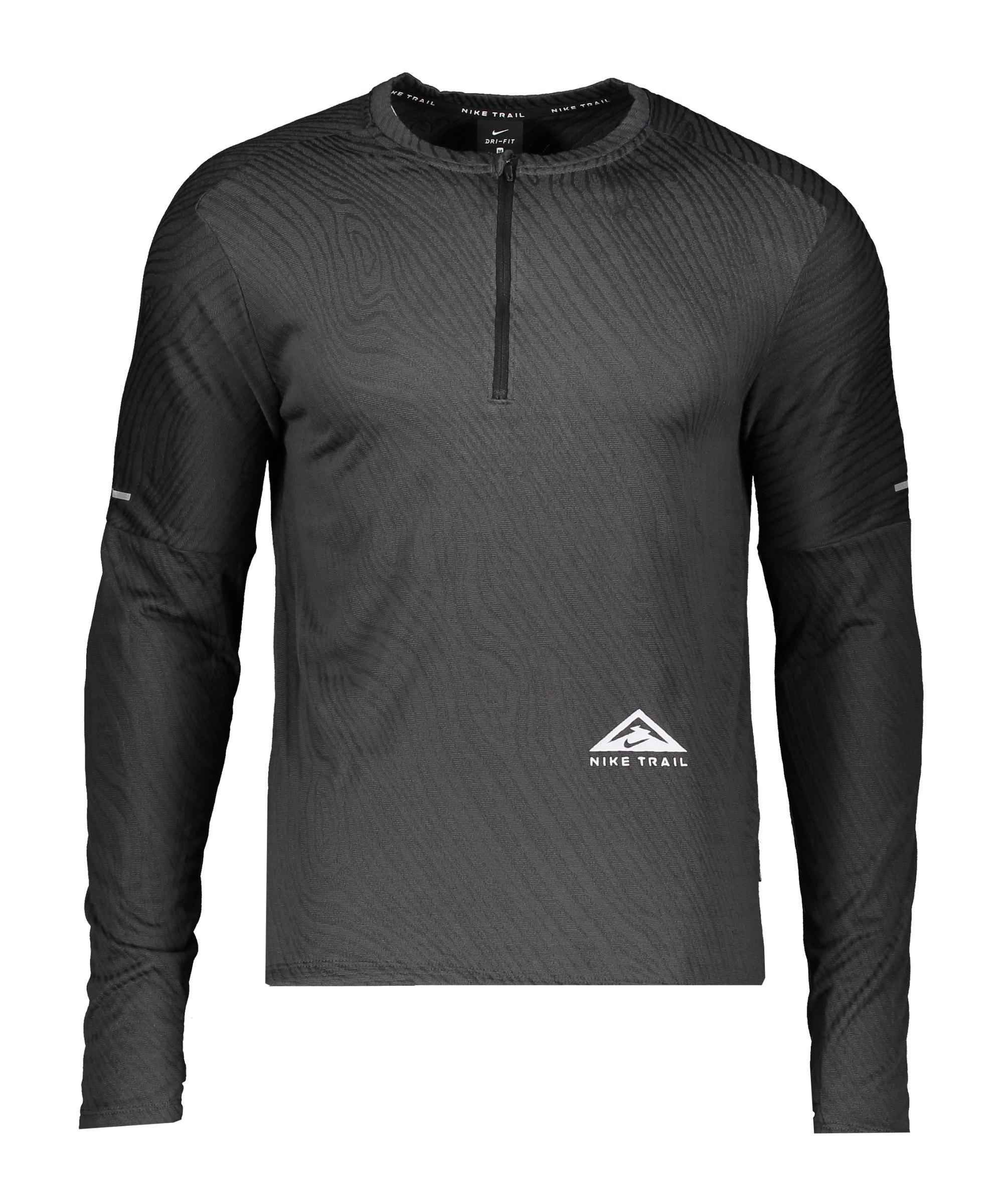 Nike Element Trail Drill Top Running Schwarz F010 - schwarz