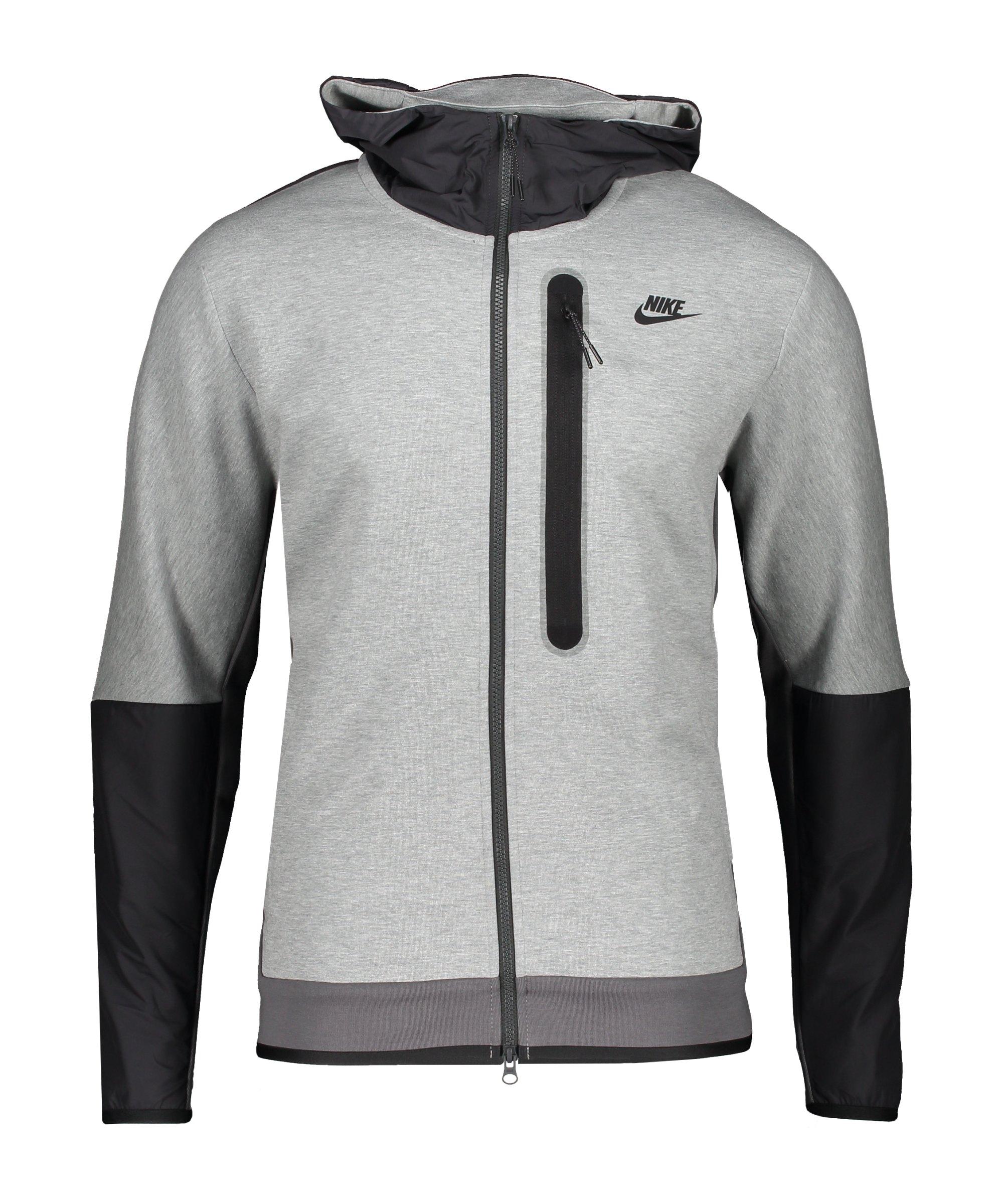 Nike Tech Fleece Kapuzenjacke Grau Schwarz F063 - grau