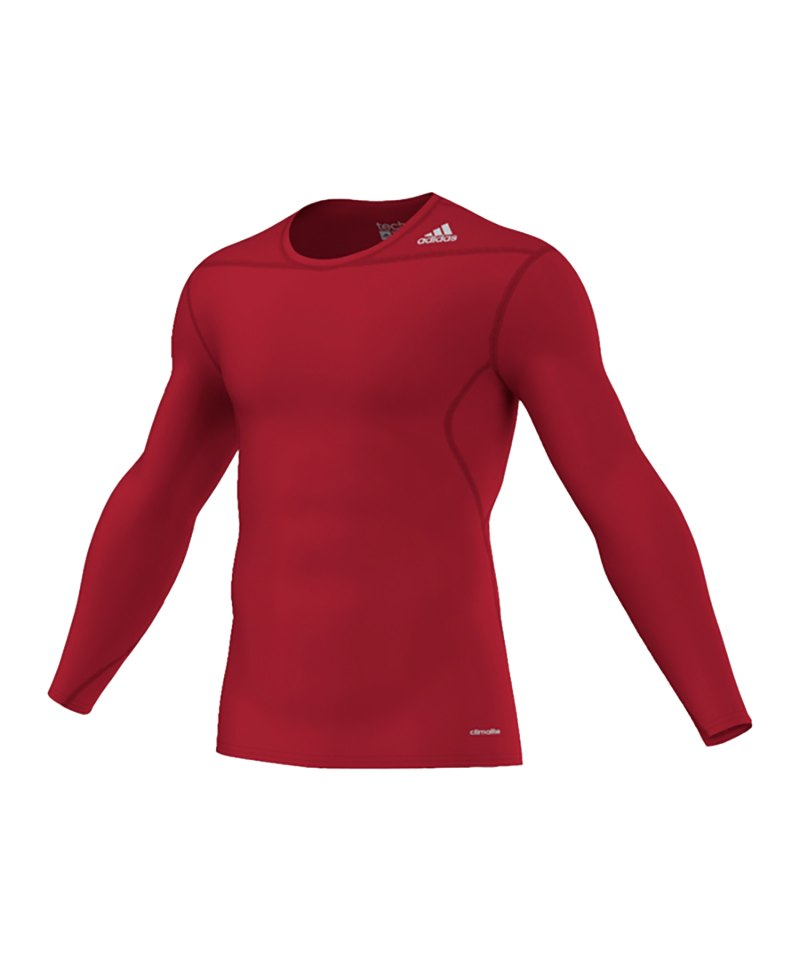 adidas Shirt Tech Fit Base LS Longsleeve Rot - rot