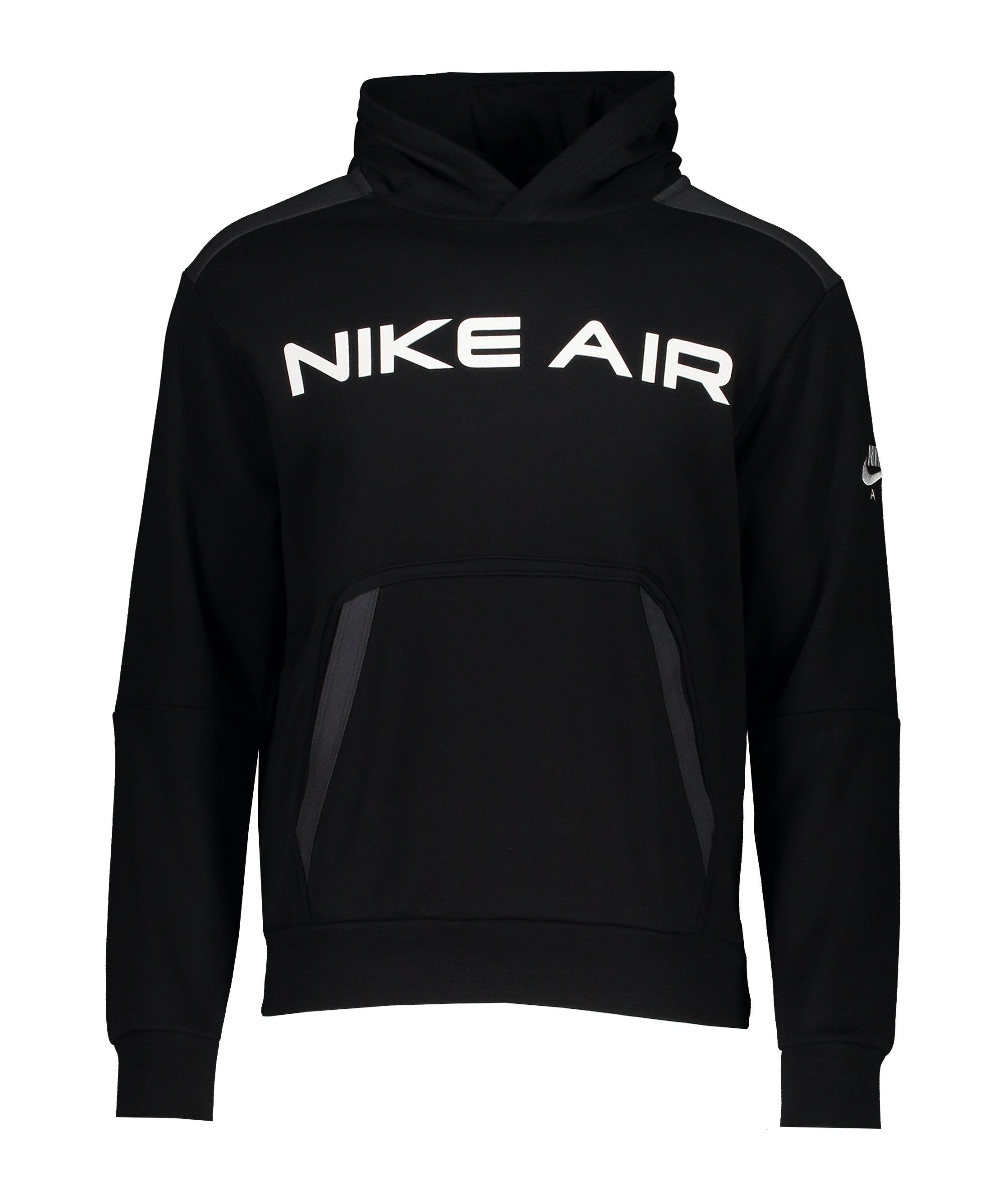 Nike Air Fleece Hoody Schwarz Grau F010 - schwarz