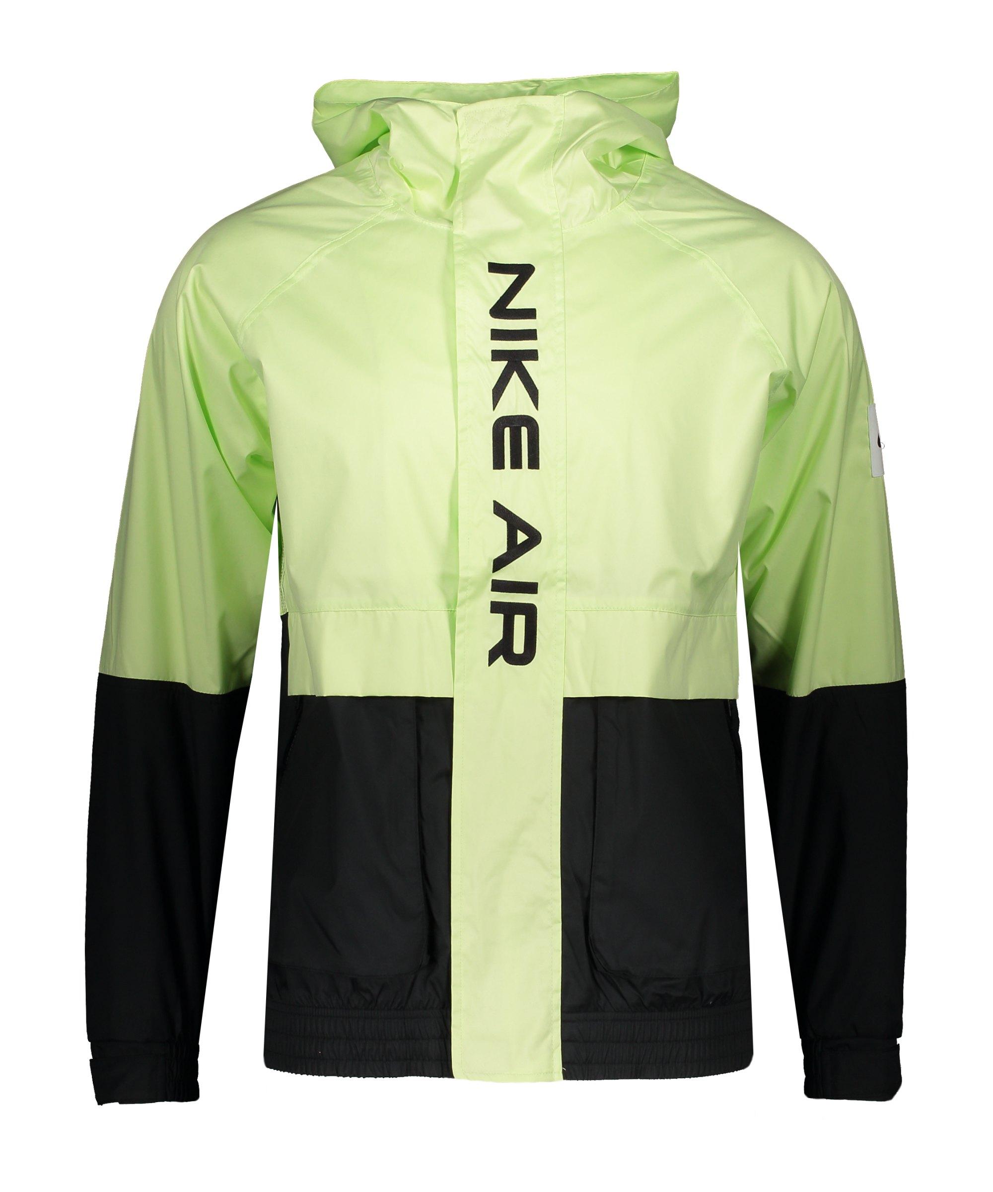 Nike Air Woven Kapuzenjacke Schwarz Grün F011 - schwarz