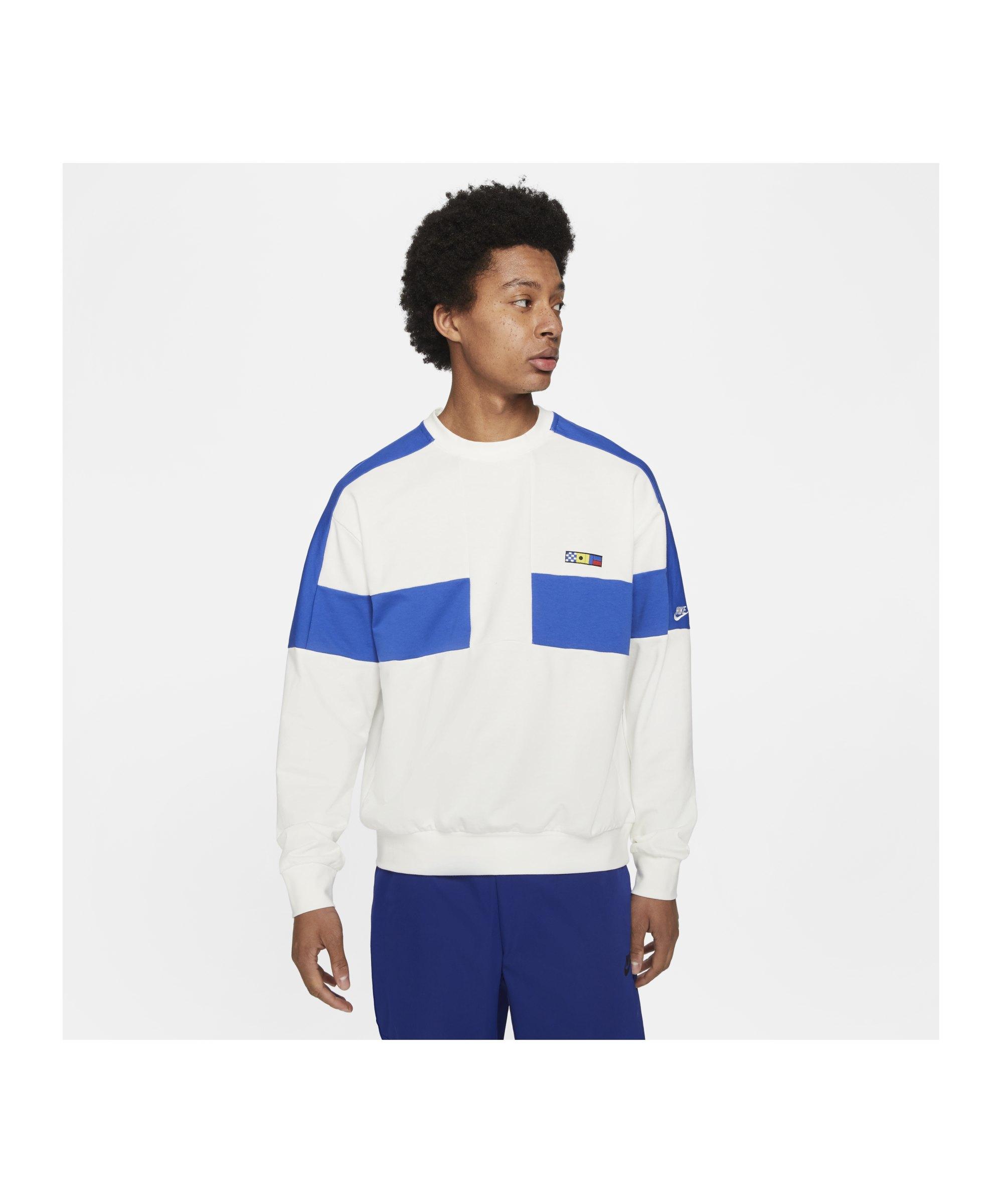 Nike Reissue Fairlead Sweatshirt Weiss Blau F133 - beige