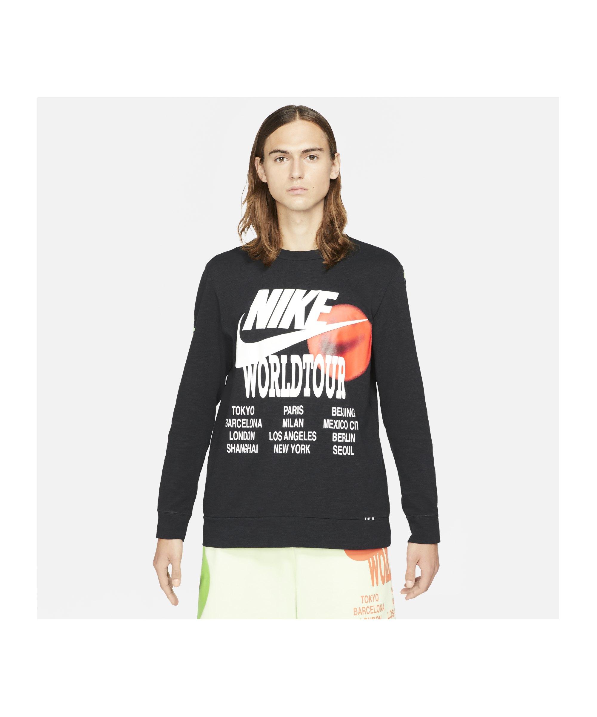 Nike World Tour Sweatshirt Schwarz F010 - schwarz