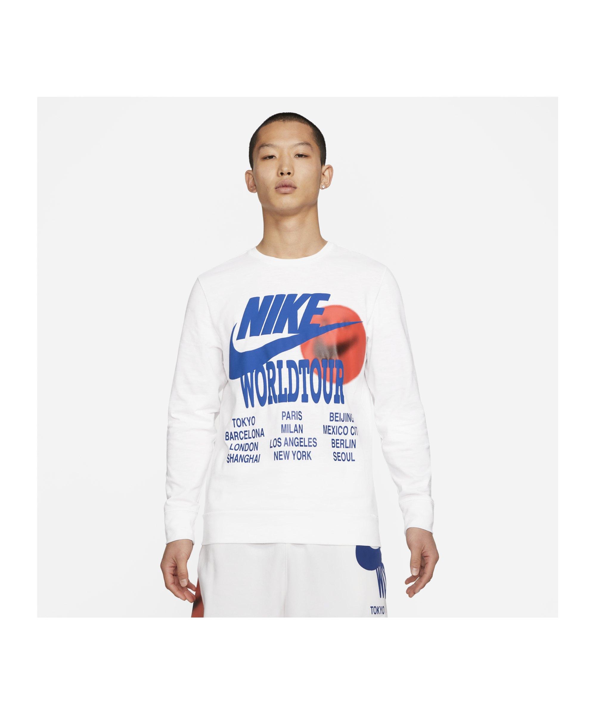 Nike World Tour Sweatshirt Weiss F100 - weiss