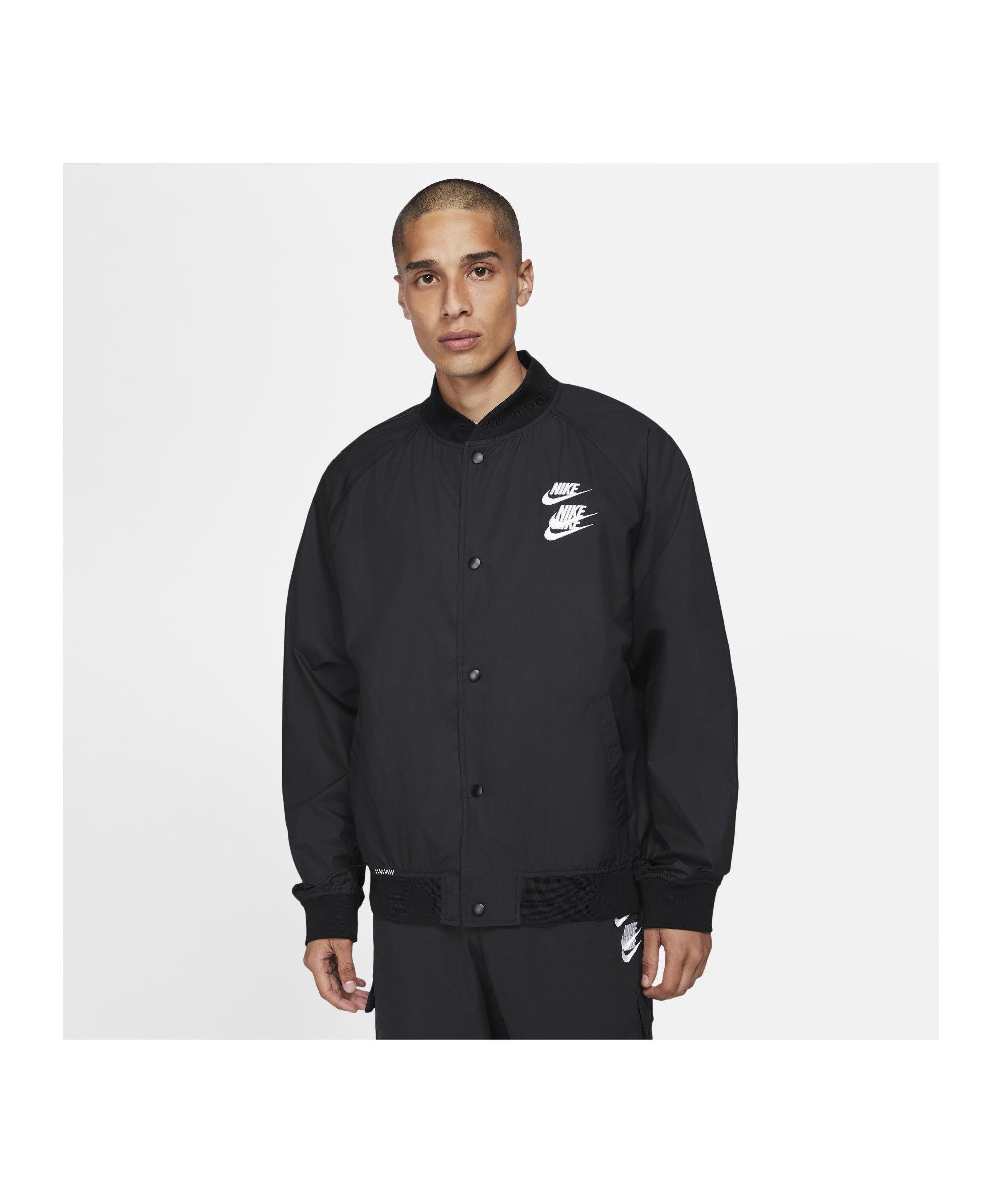 Nike Woven Jacke Schwarz Weiss F010 - schwarz