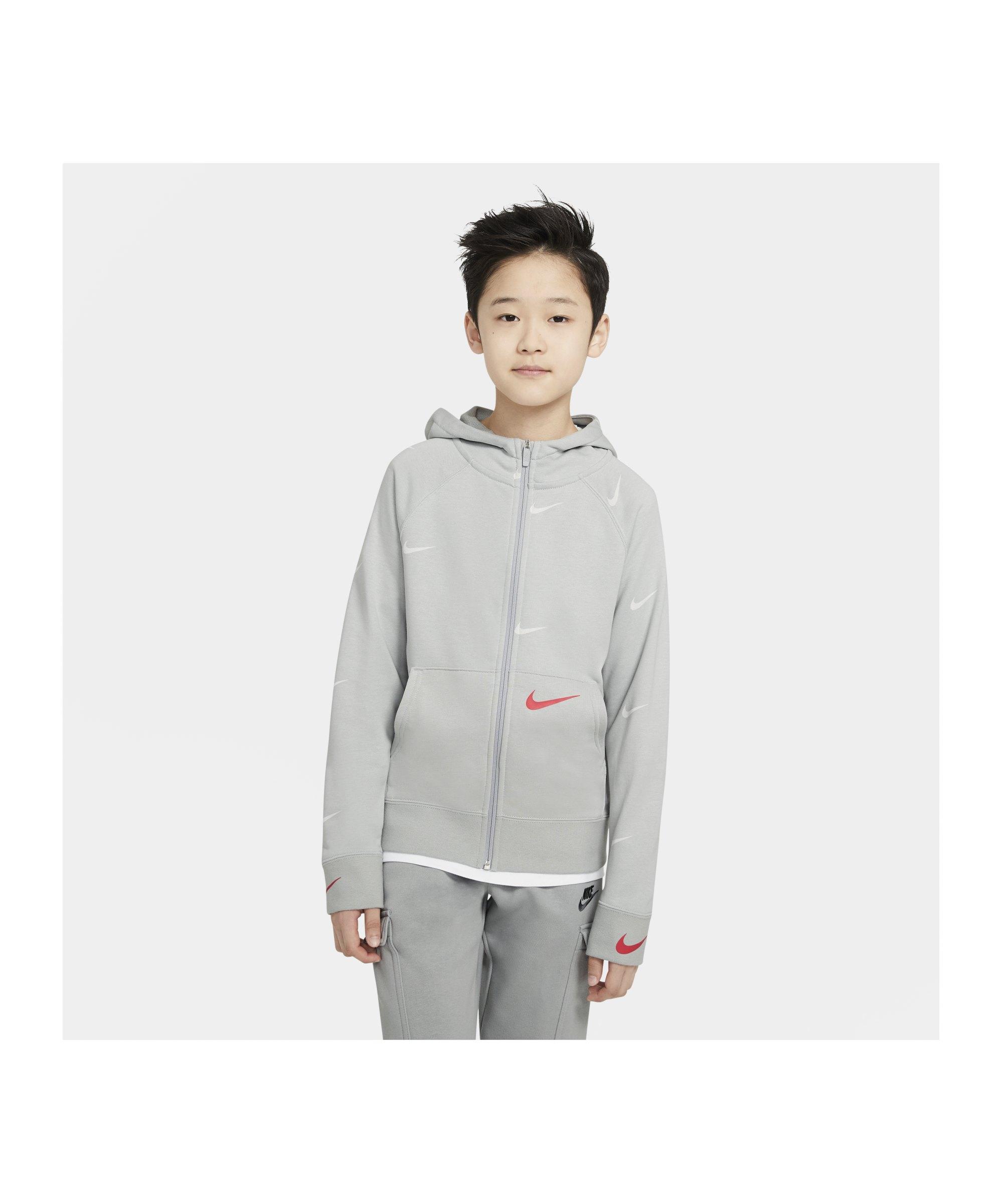 Nike Swoosh Kapuzenjacke Kids Grau F097 - grau
