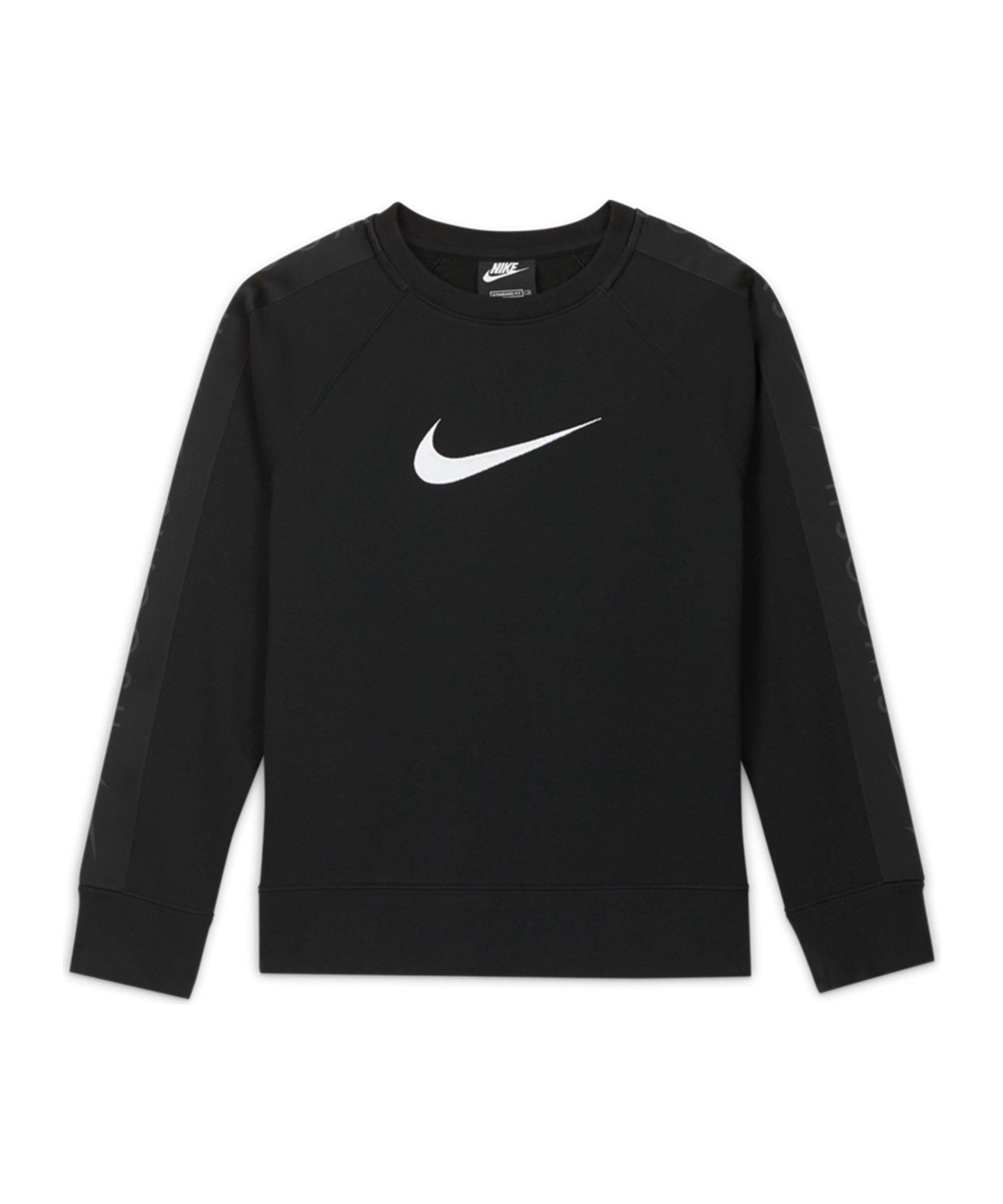 Nike Fleece Swoosh Sweatshirt Kids Schwarz F010 - schwarz