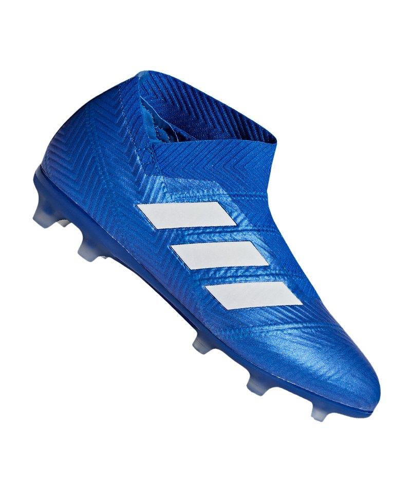 adidas NEMEZIZ 18+ FG J Kids Blau Weiss - blau