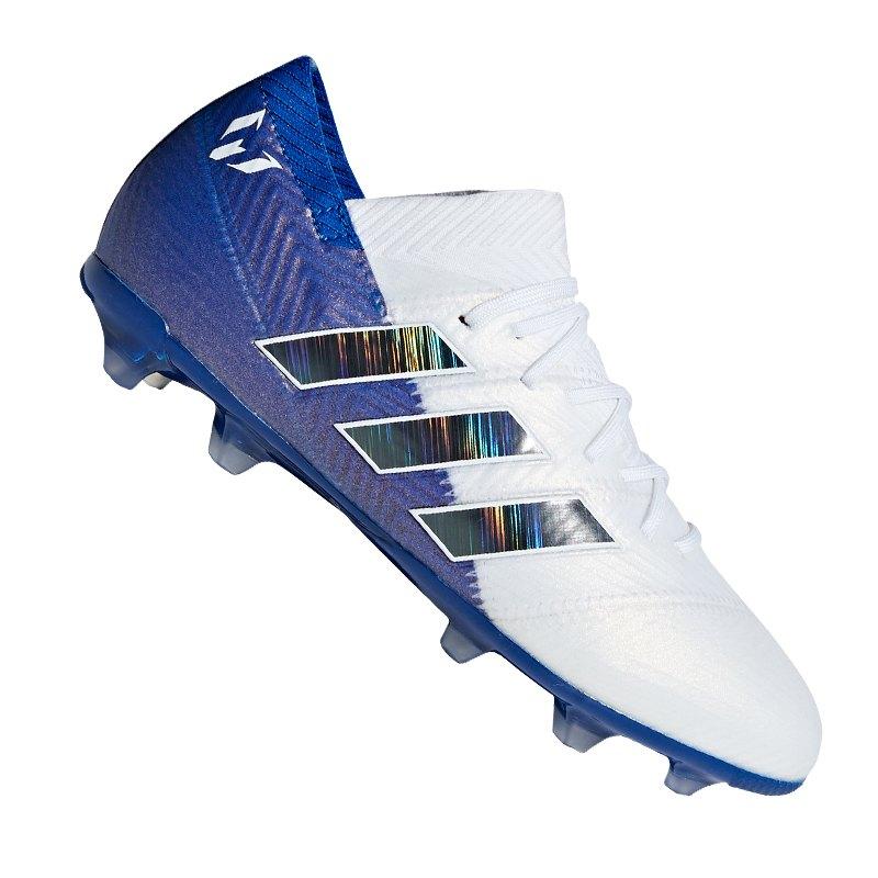 adidas NEMEZIZ Messi 18.1 FG J Kids Weiss Blau - weiss