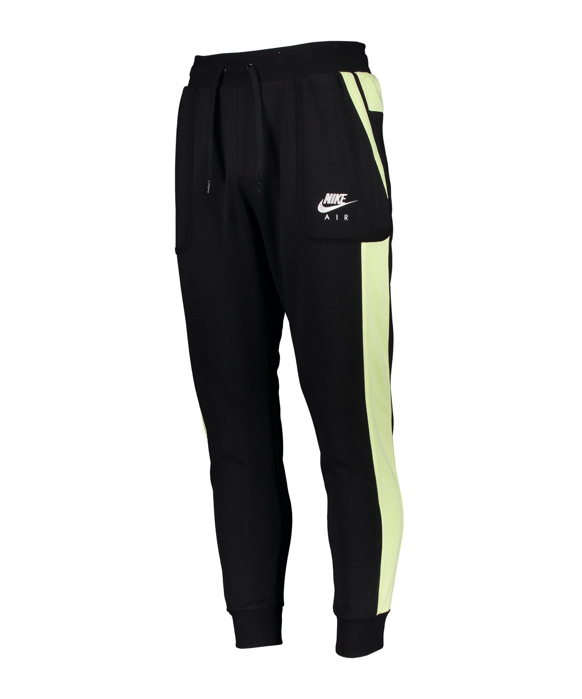 Nike Air Fleece Jogginghose Schwarz Grün F010 - schwarz