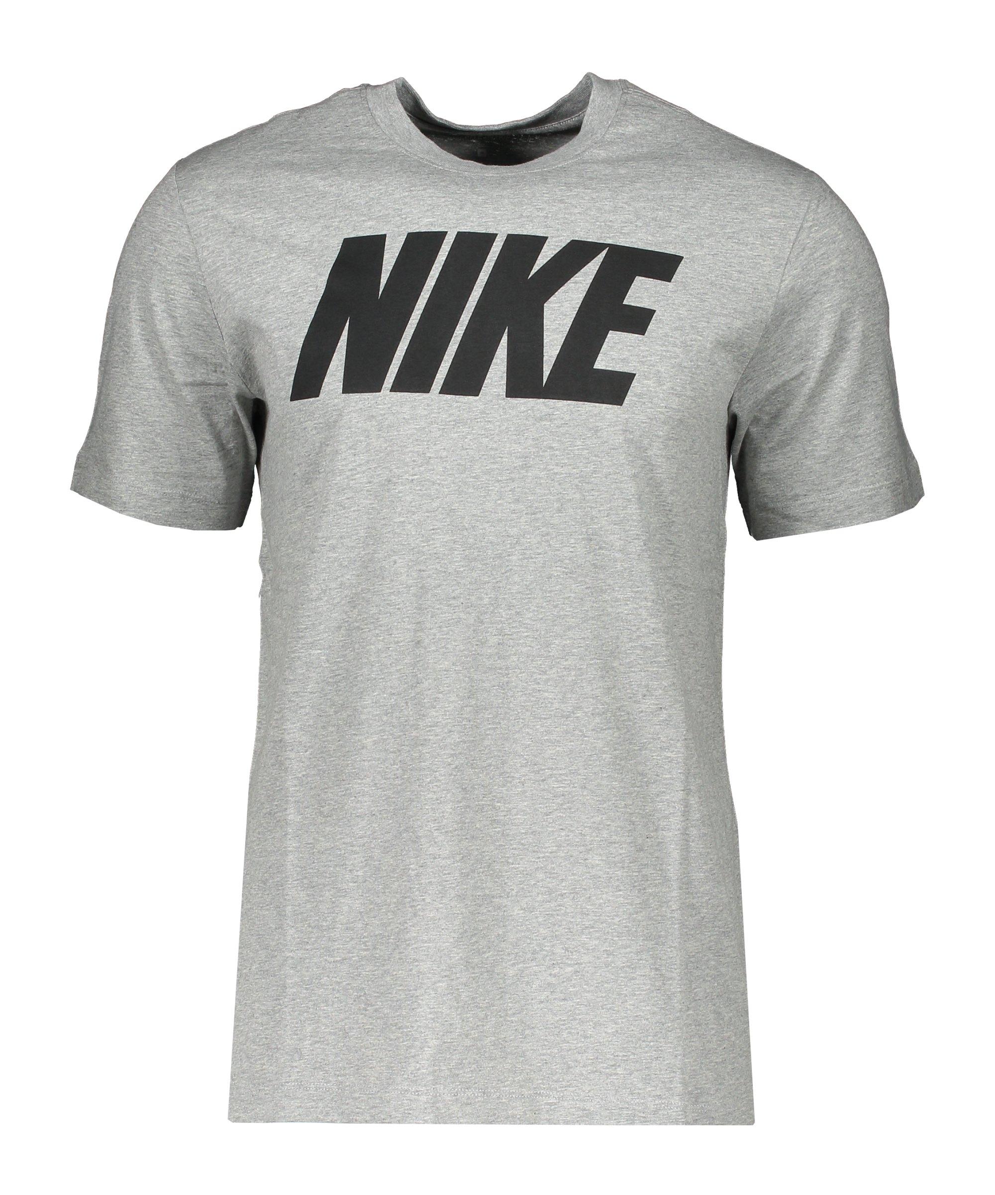 Nike Icon Block T-Shirt Grau Schwarz F063 - grau