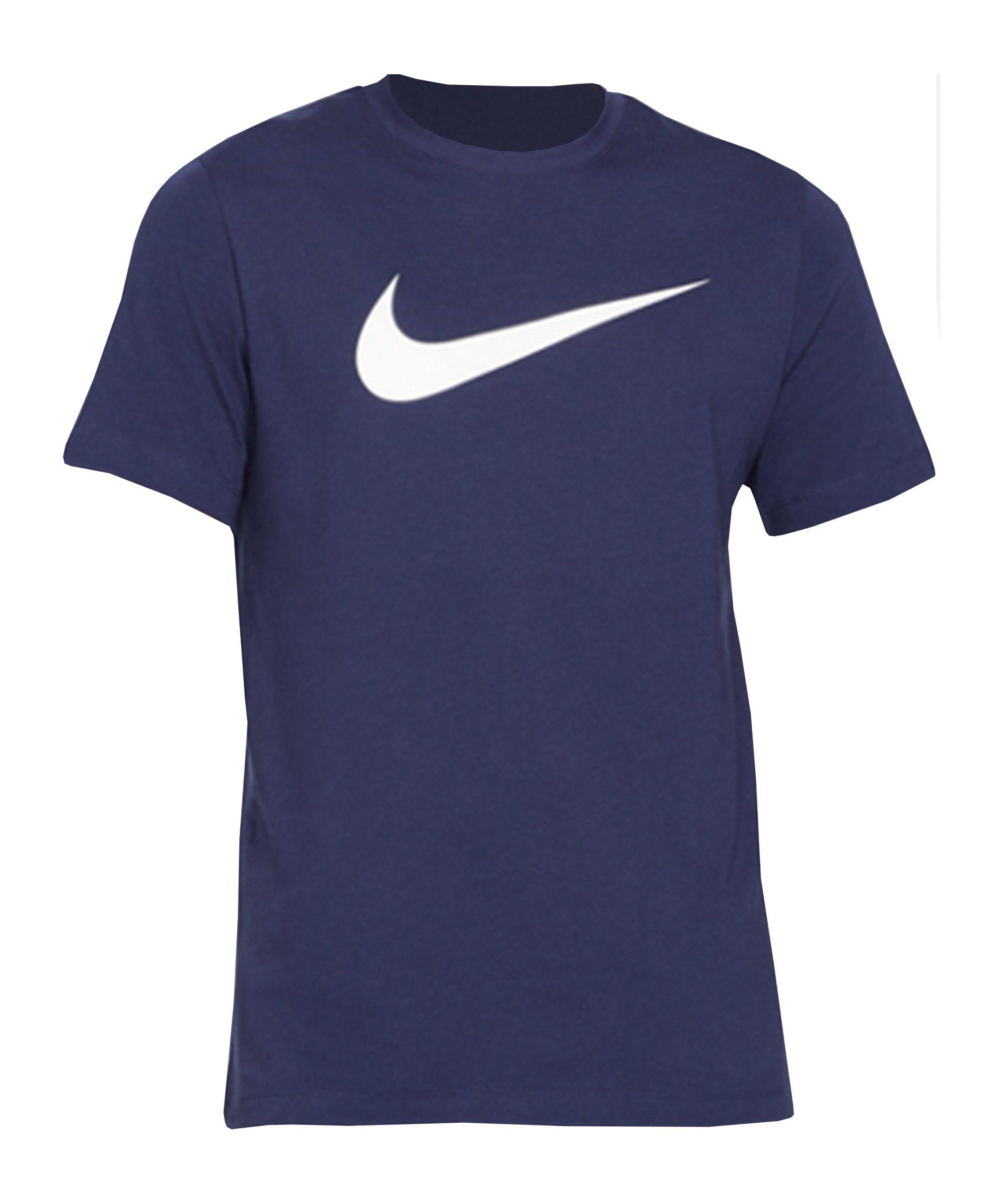 Nike Swoosh T-Shirt Blau Weiss F410 - blau