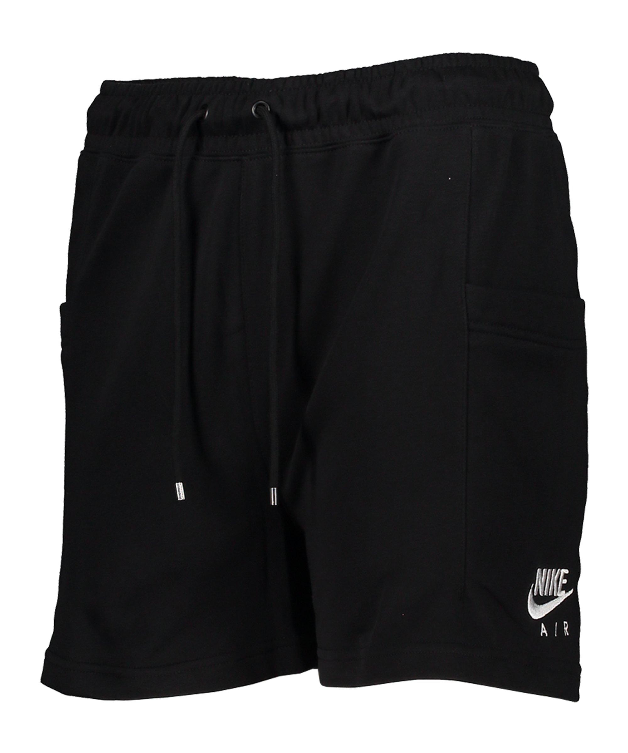 Nike Air Fleece Short Damen Schwarz Weiss F010 - schwarz