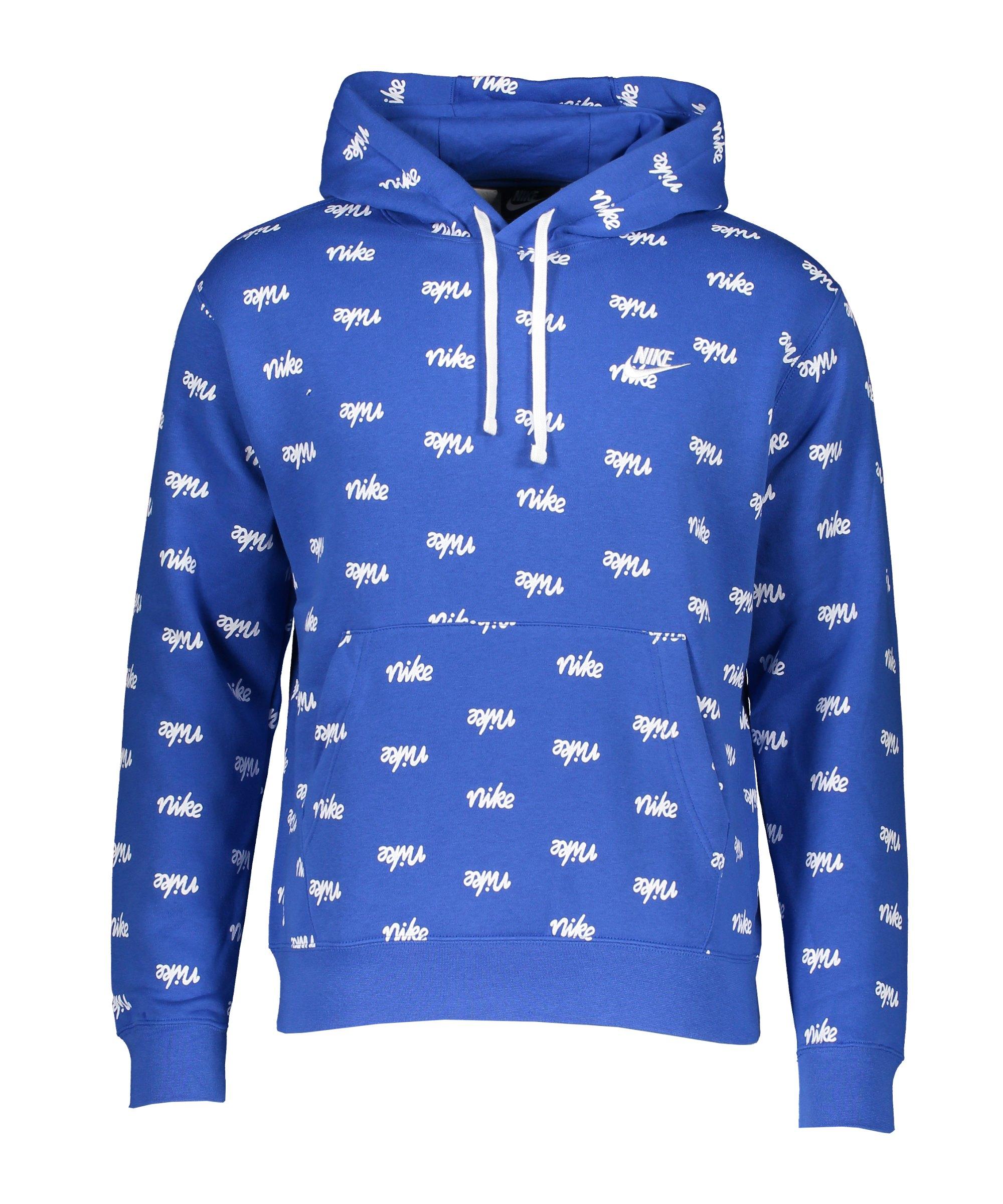 Nike Club Script Hoody Blau Weiss F480 - blau