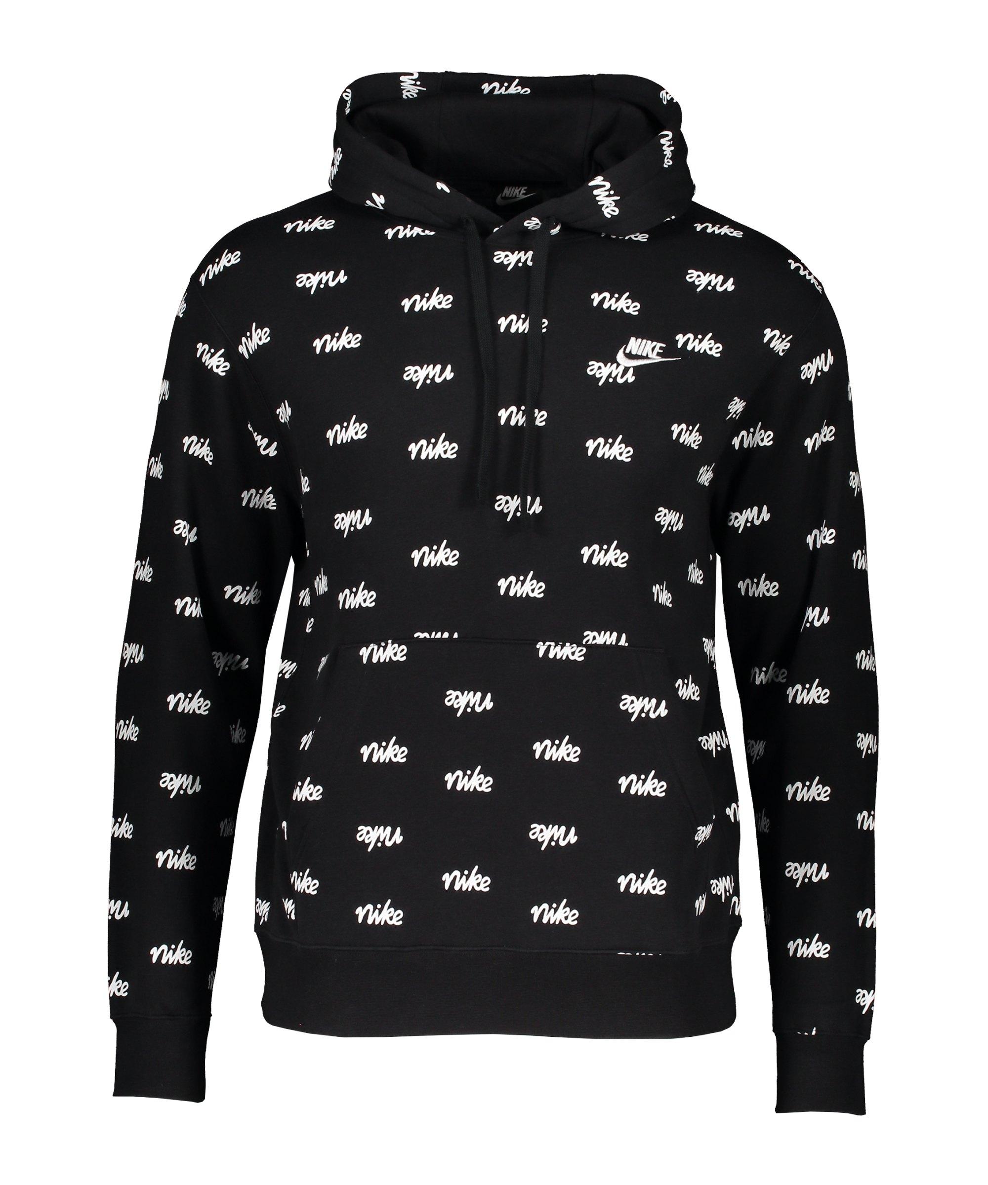 Nike Club Script Hoody Schwarz Weiss F011 - schwarz