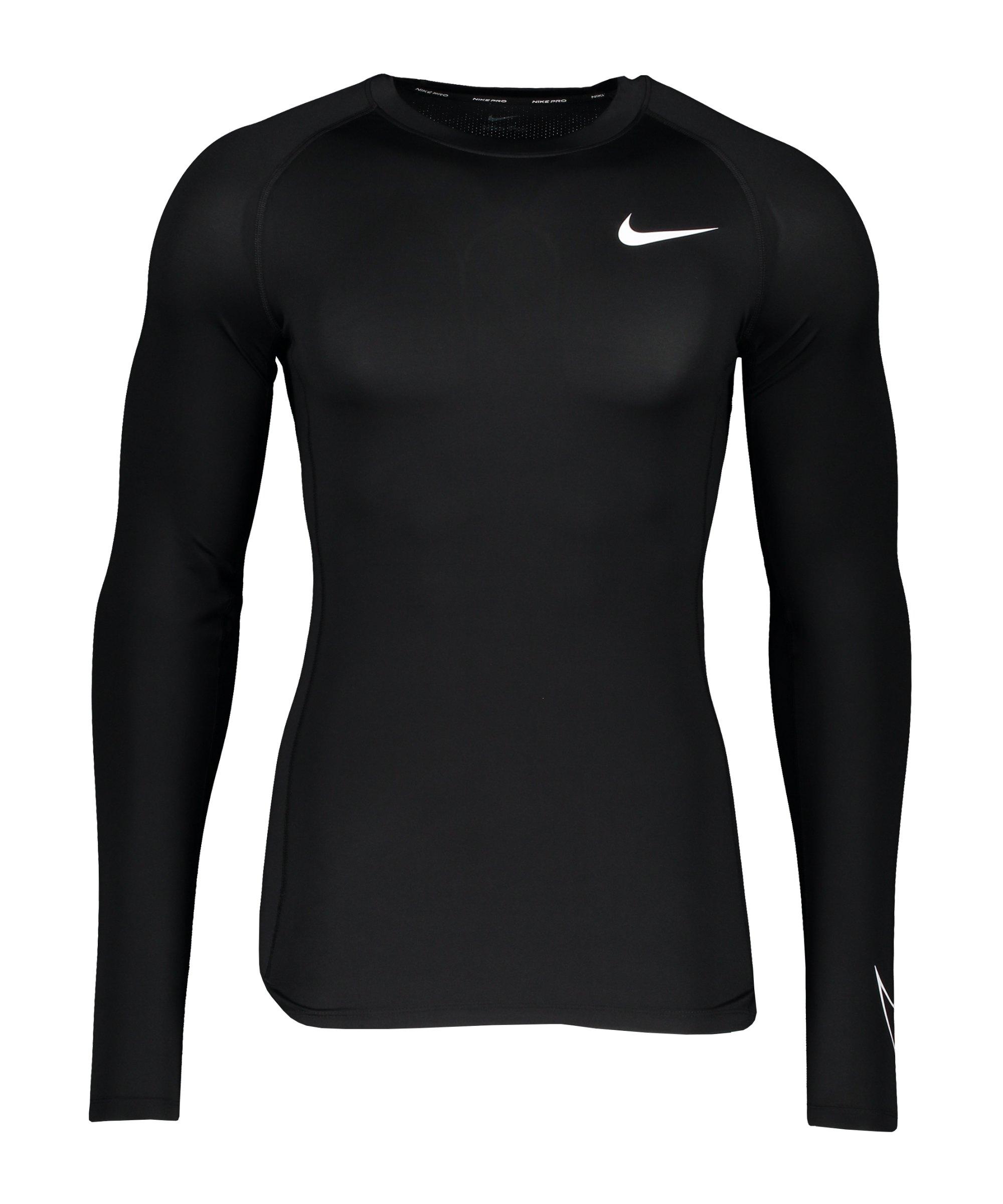 Nike Pro Longsleeve Schwarz Weiss F010 - schwarz