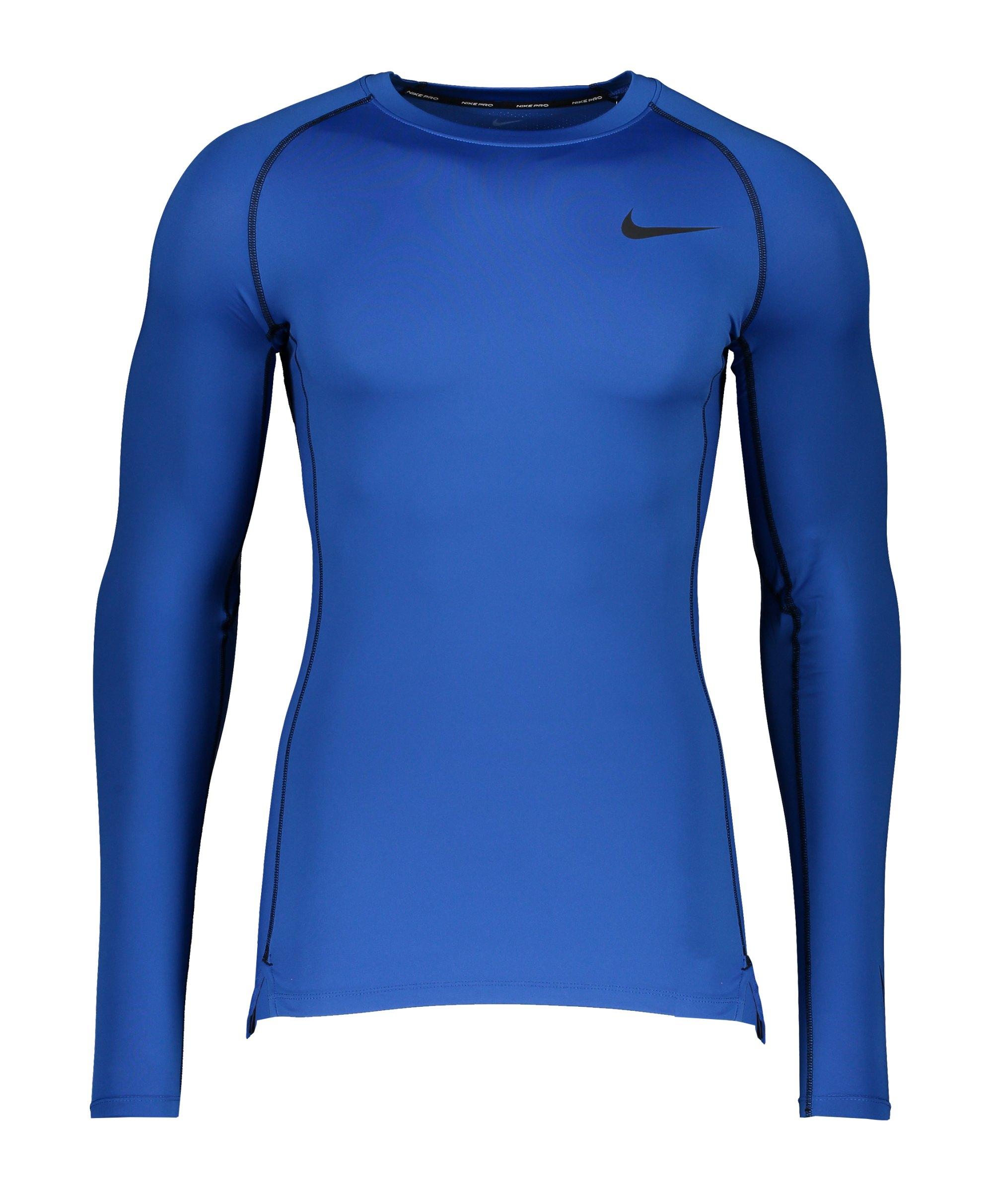Nike Pro Longsleeve Shirt Blau Schwarz F480 - blau