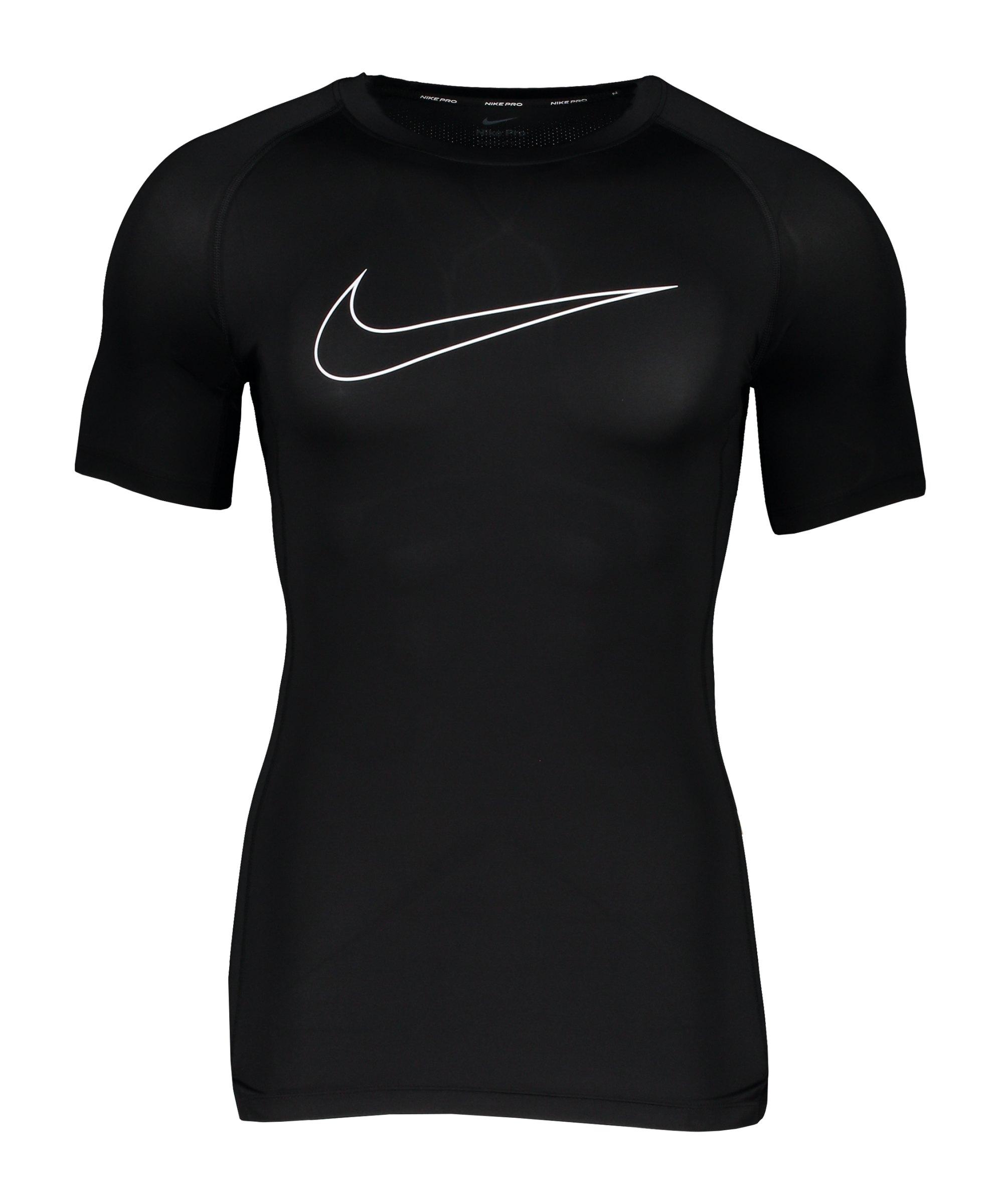 Nike Pro Shortsleeve Shirt Schwarz Weiss F010 - schwarz