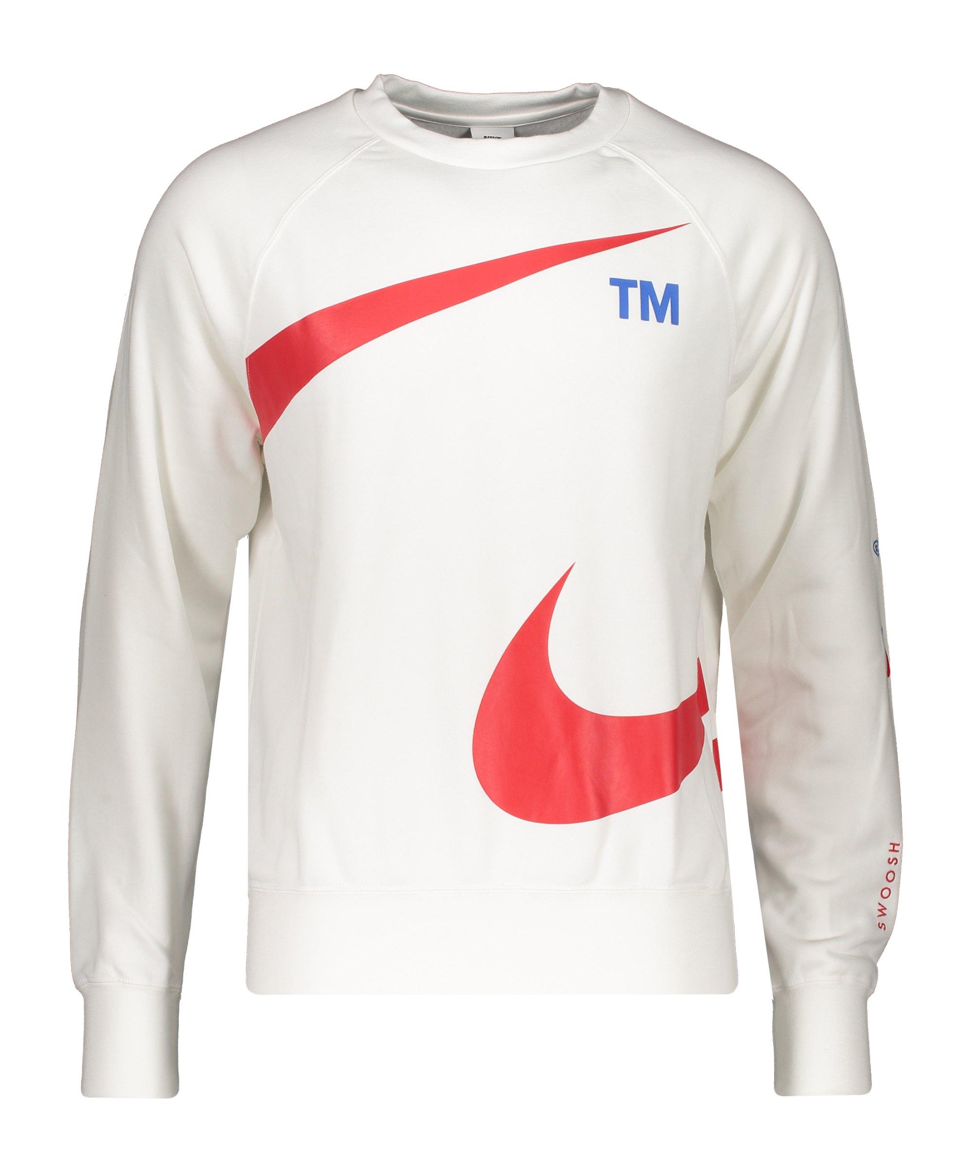 Nike Swoosh Fleece Sweatshirt Weiss Rot F100 - weiss