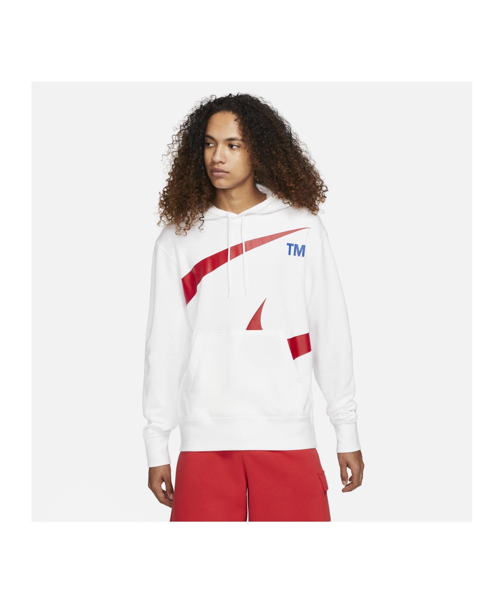 Nike Sport Swoosh Hoody Weiss Rot F100 - weiss