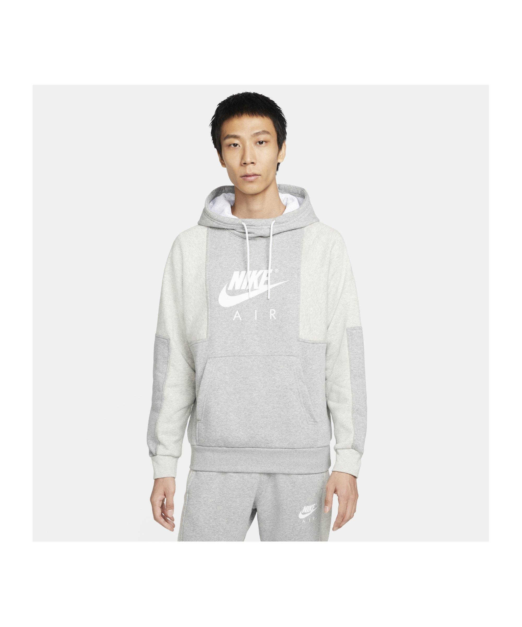 Nike Air Brushed-Back Fleece Hoody Grau F063 - grau