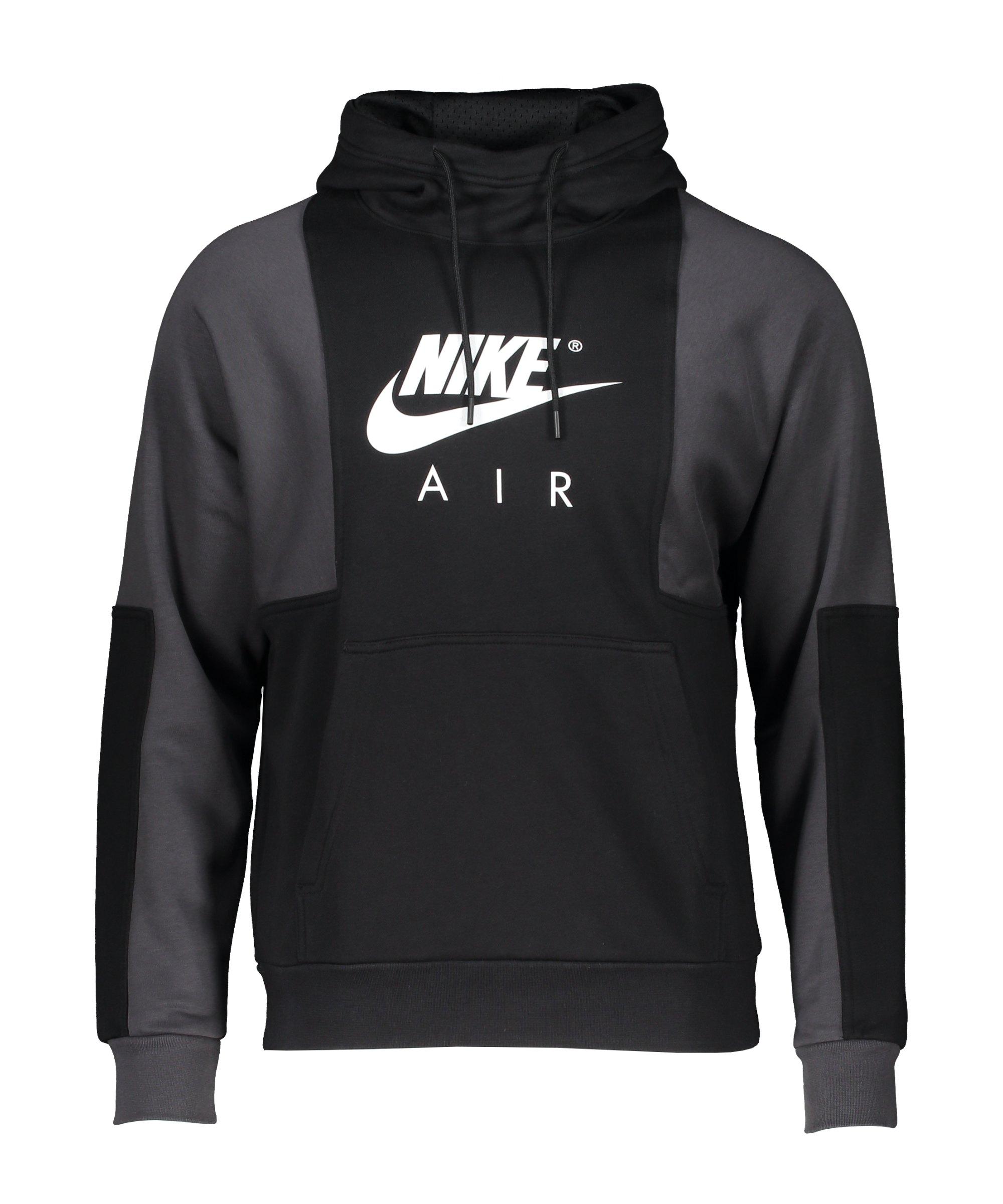 Nike Air Brushed-Back Fleece Hoody Schwarz F010 - schwarz