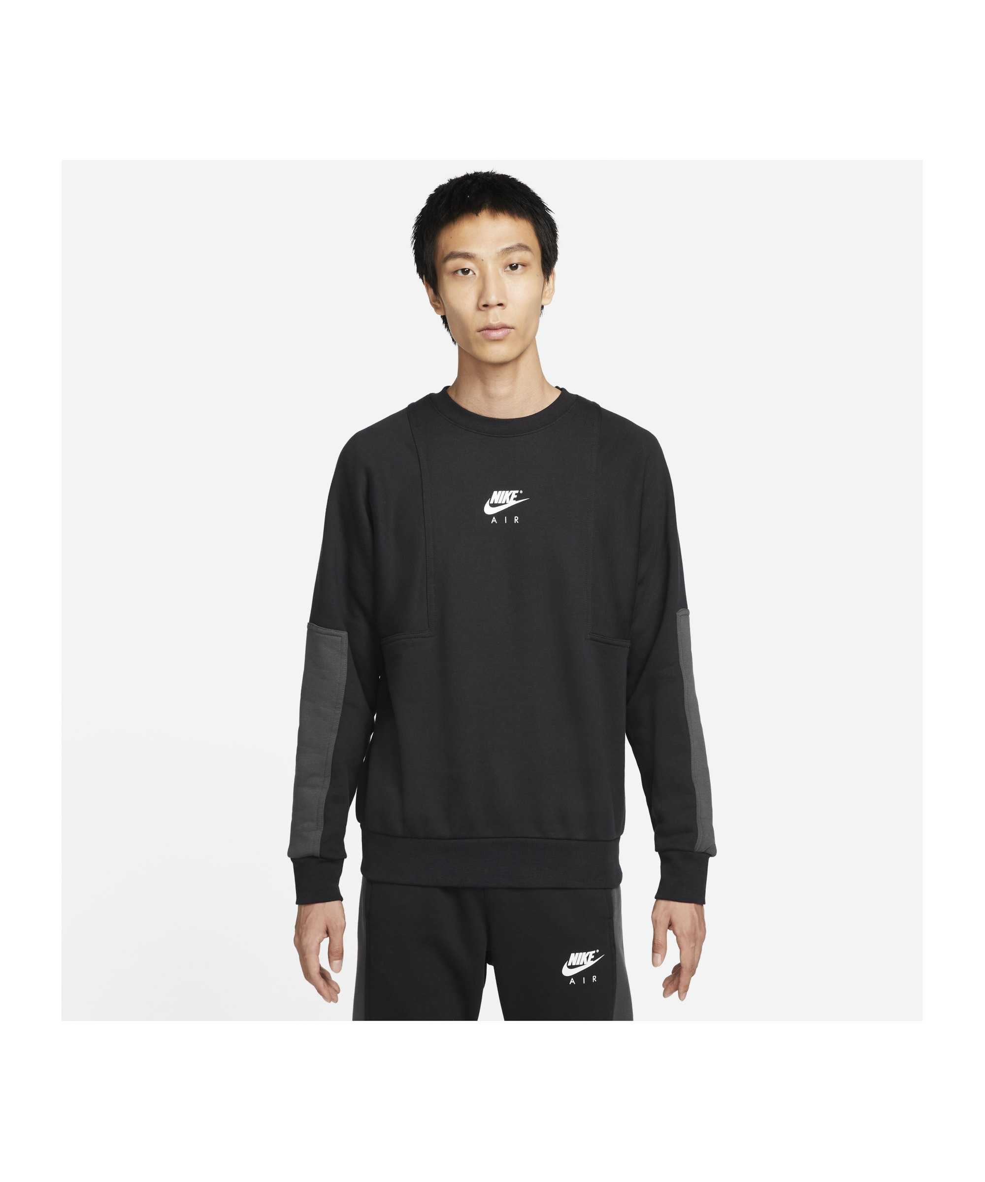 Nike Air Brushed-Back Fleece Crew Sweatshirt F010 - schwarz