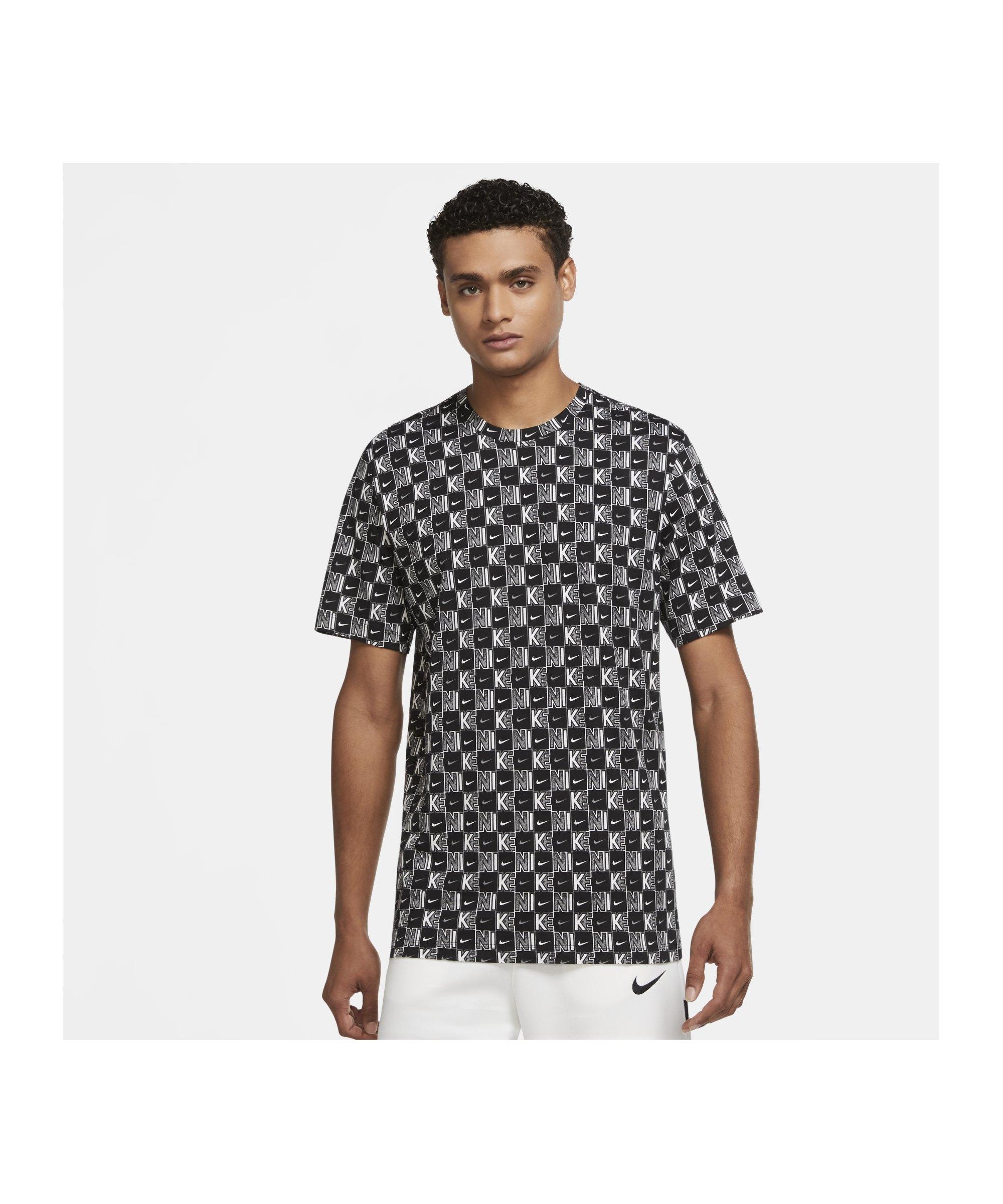 Nike Sportswear Karo T-Shirt Weiss Schwarz F100 - weiss