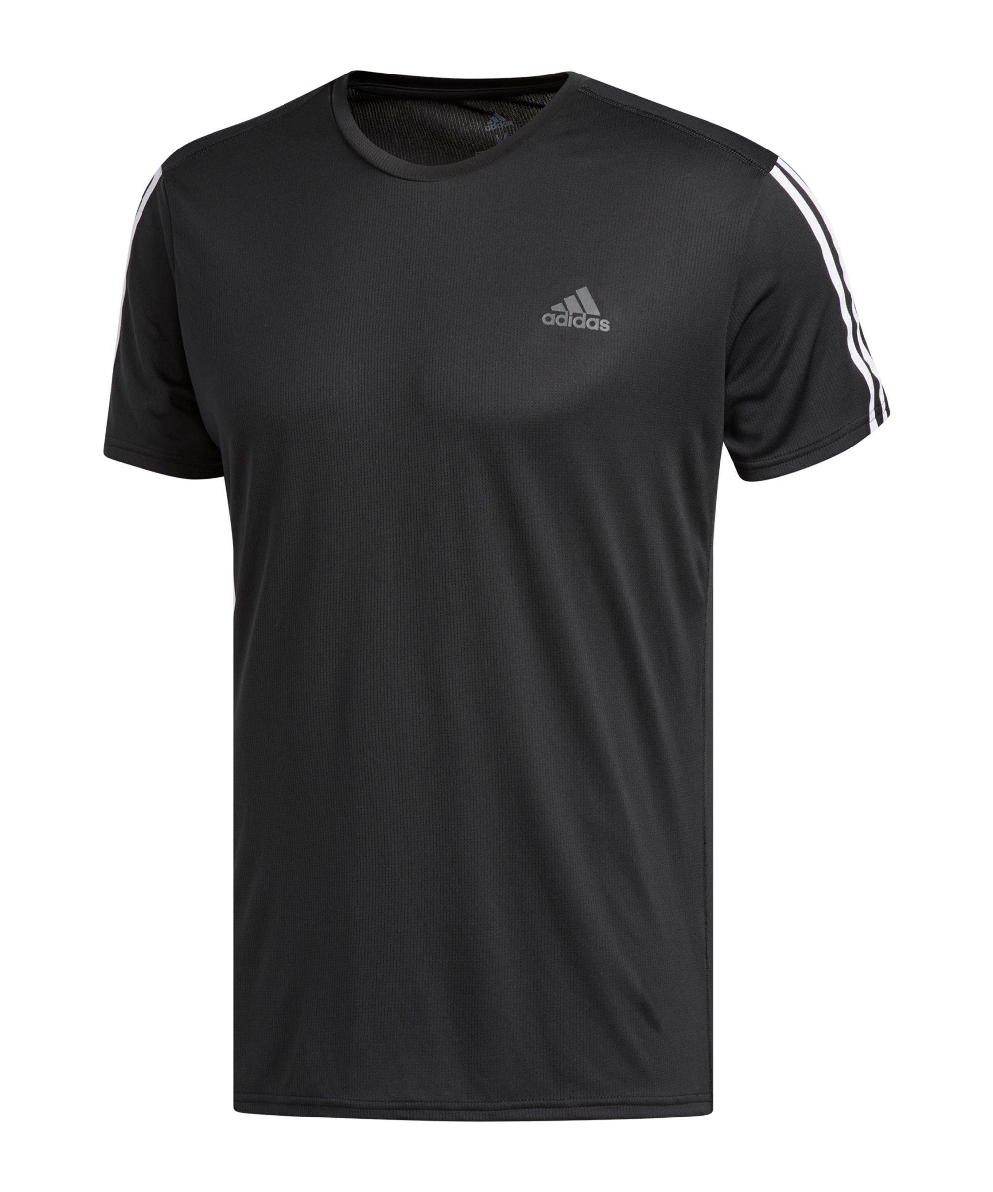 adidas Run It 3 Stripes T-Shirt Running Schwarz - schwarz