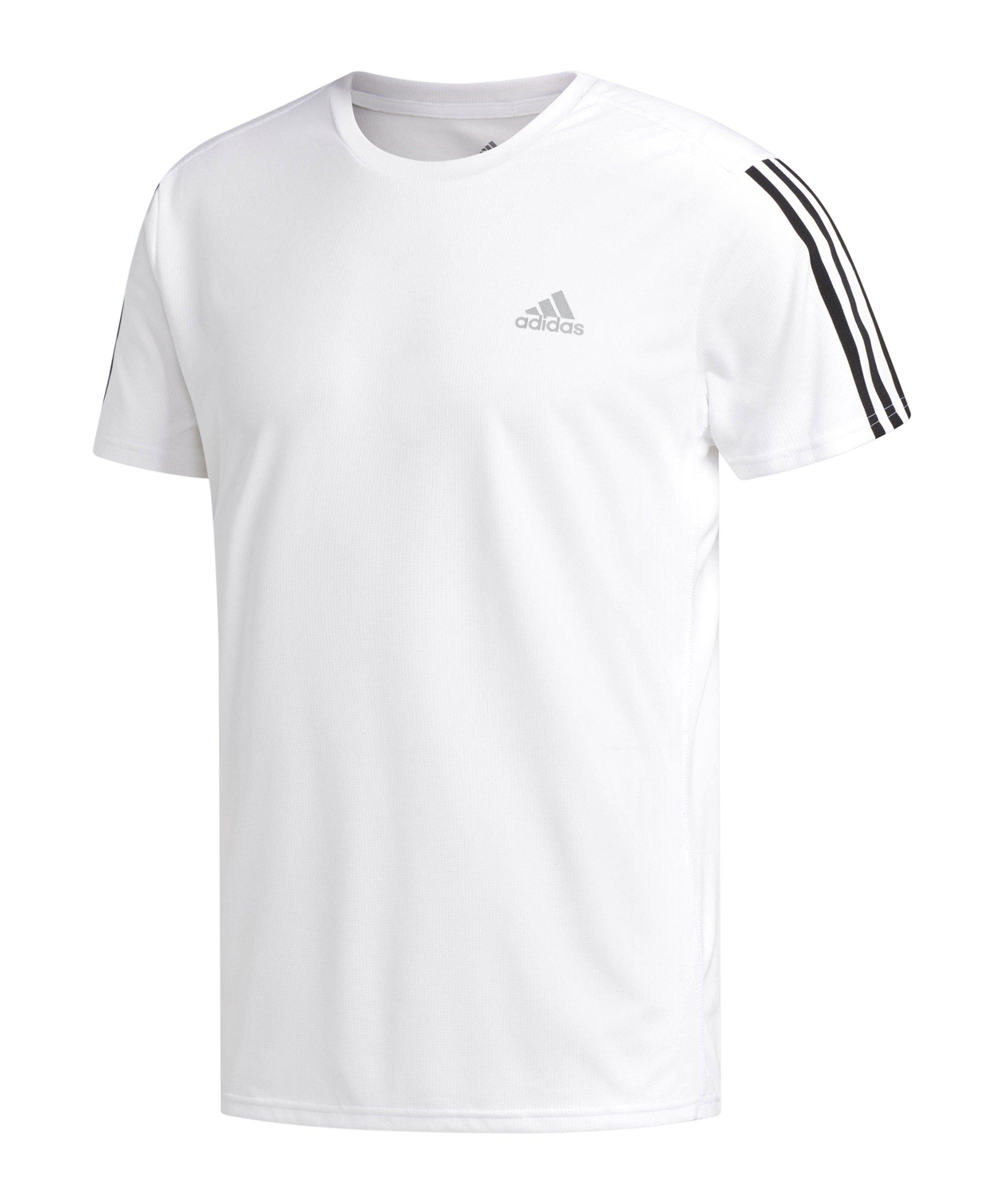 adidas Run It 3 Stripes T-Shirt Running Weiss - weiss