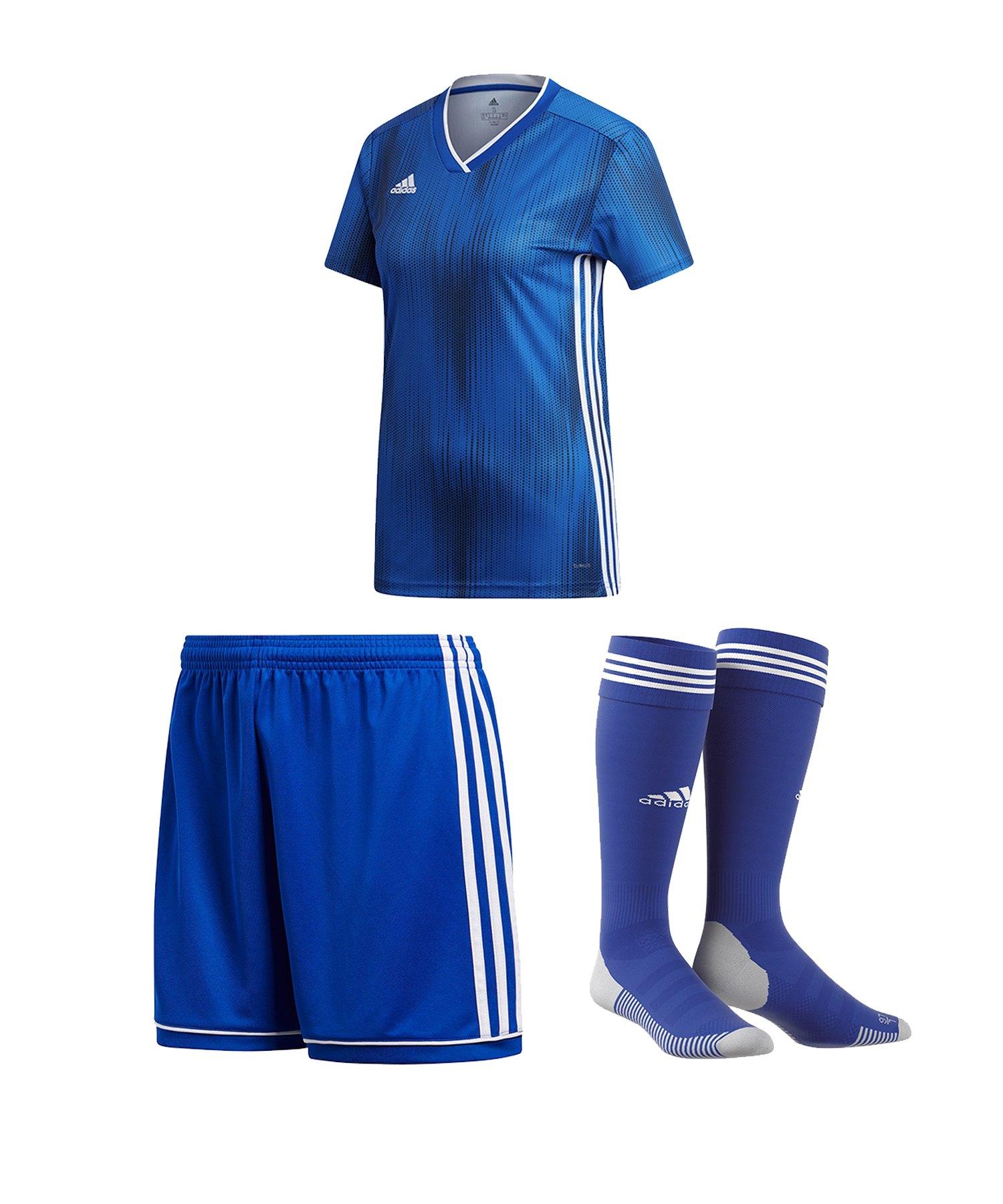 adidas Tiro 19 Trikotset kurzarm Damen Blau Weiss - blau