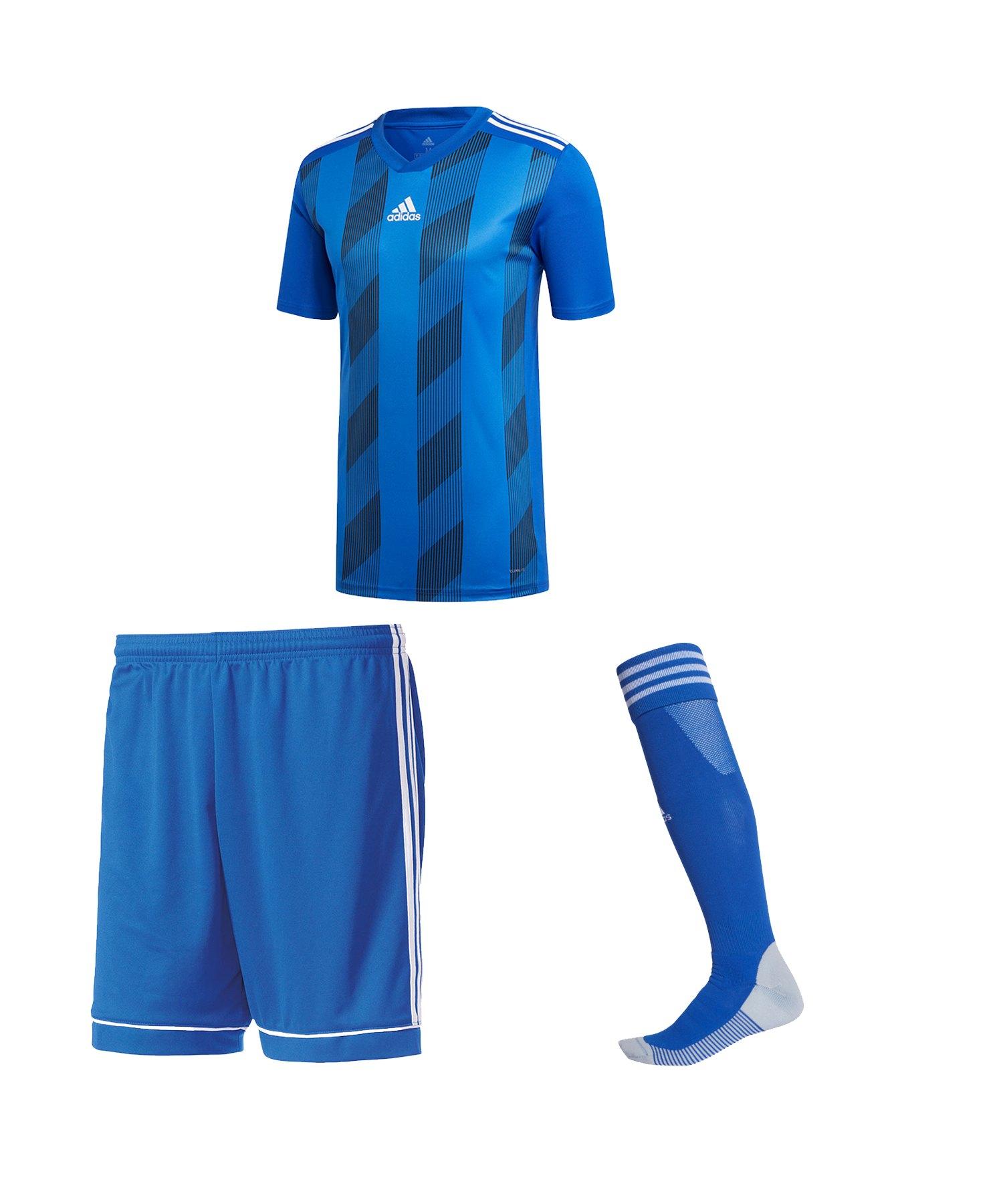 adidas Striped 19 Trikotset kurzarm Blau Schwarz - blau
