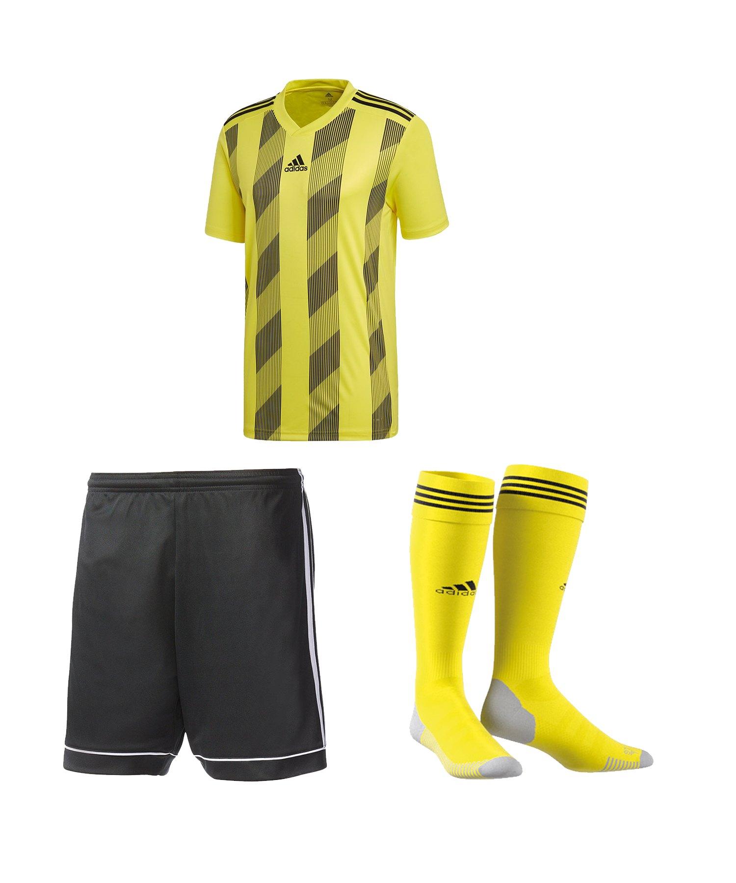 adidas Striped 19 Trikotset kurzarm Gelb Schwarz - gelb