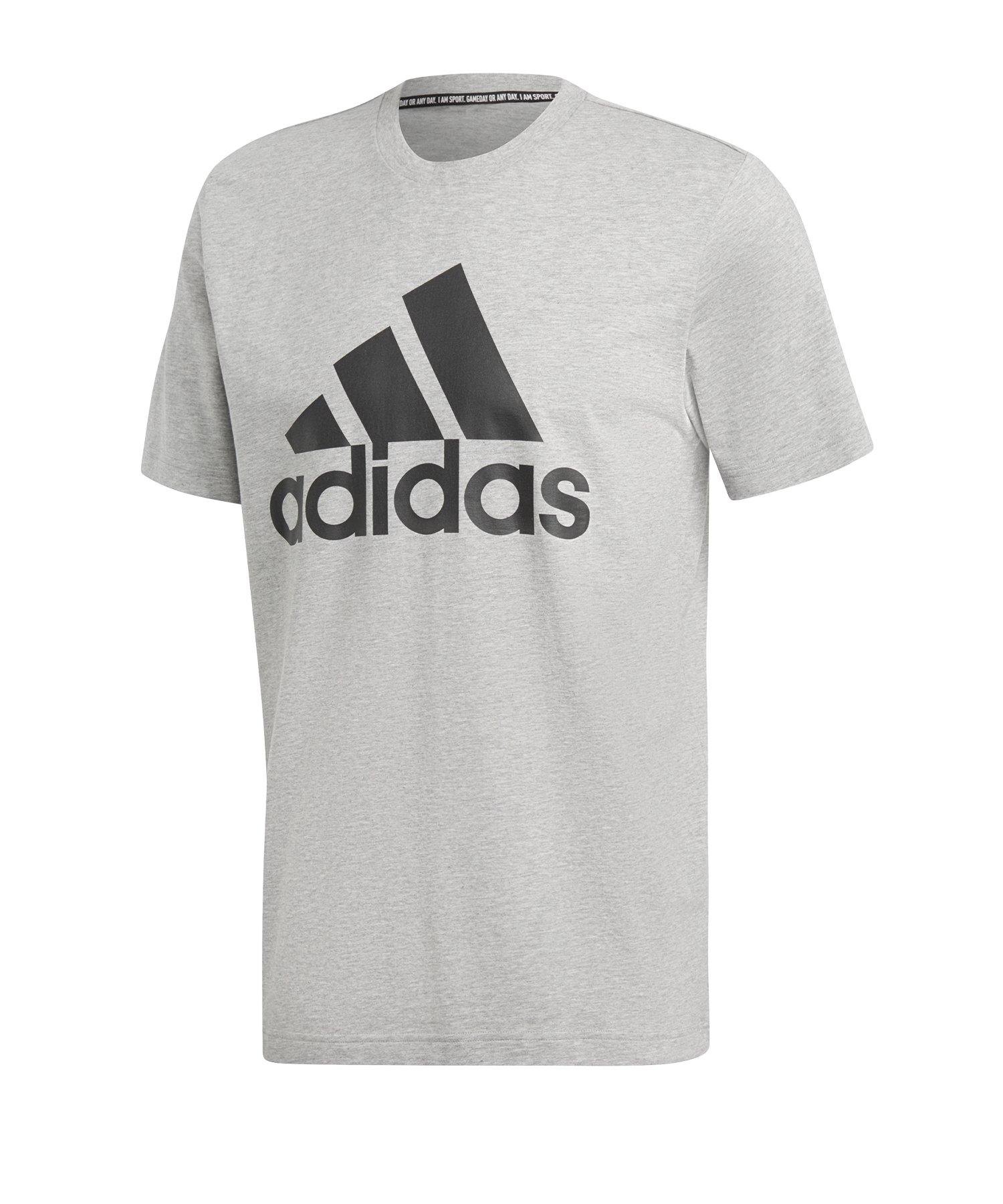 adidas MH Badge of Sport T-Shirt Grau Schwarz - grau