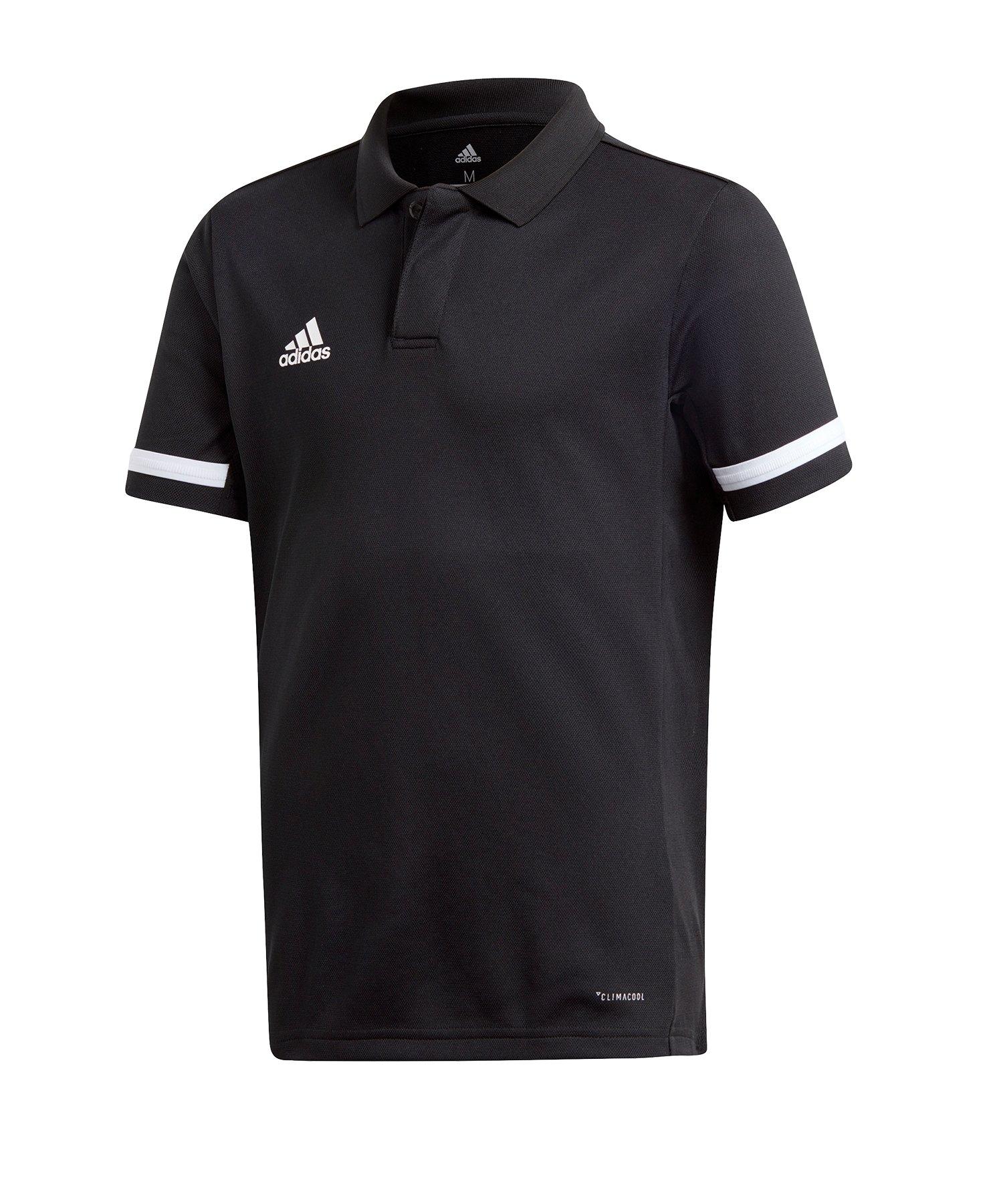 adidas Team 19 Poloshirt Kids Schwarz Weiss - schwarz