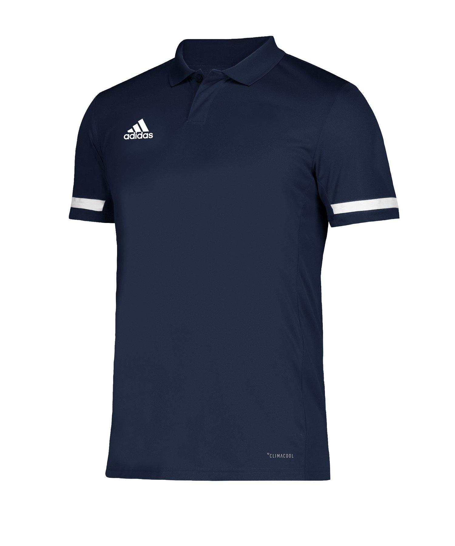 adidas Team 19 Poloshirt Blau Weiss - blau