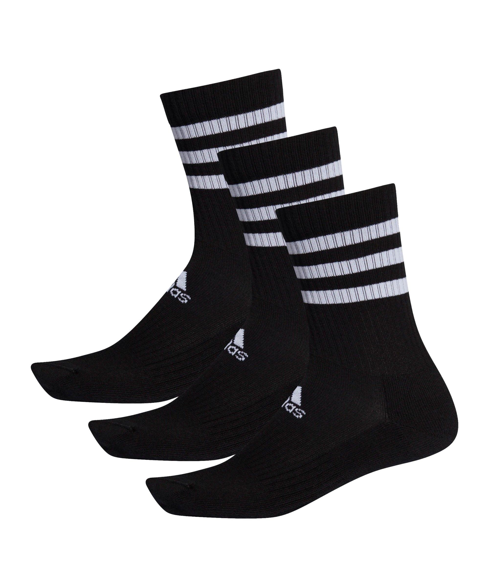 adidas 3S Performance Crew Socken 3er Pack Schwarz - schwarz