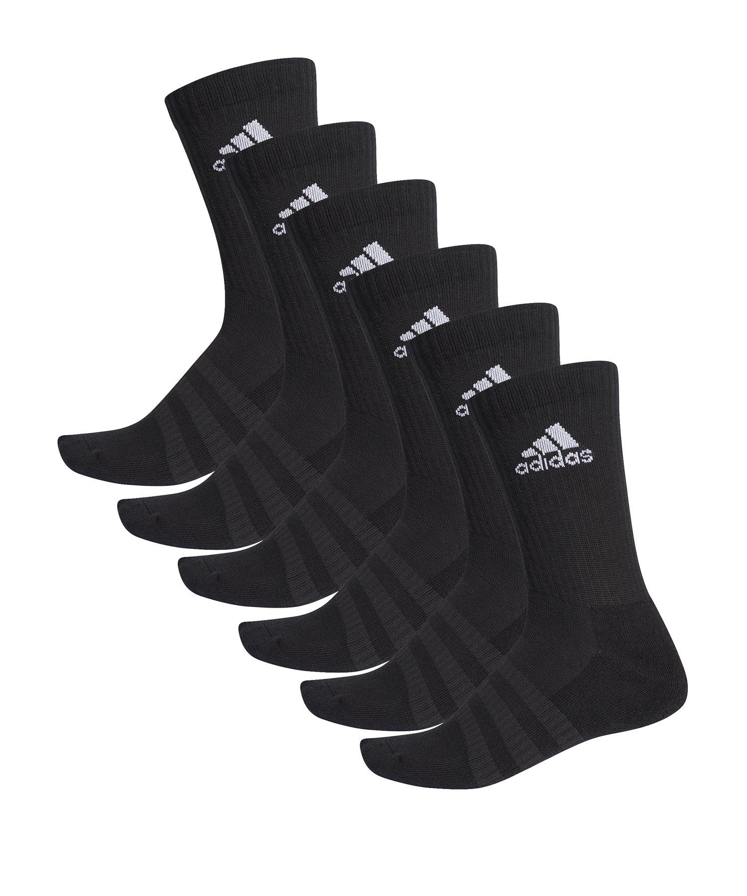 adidas Cushion Crew Socken 6er Pack Schwarz - schwarz