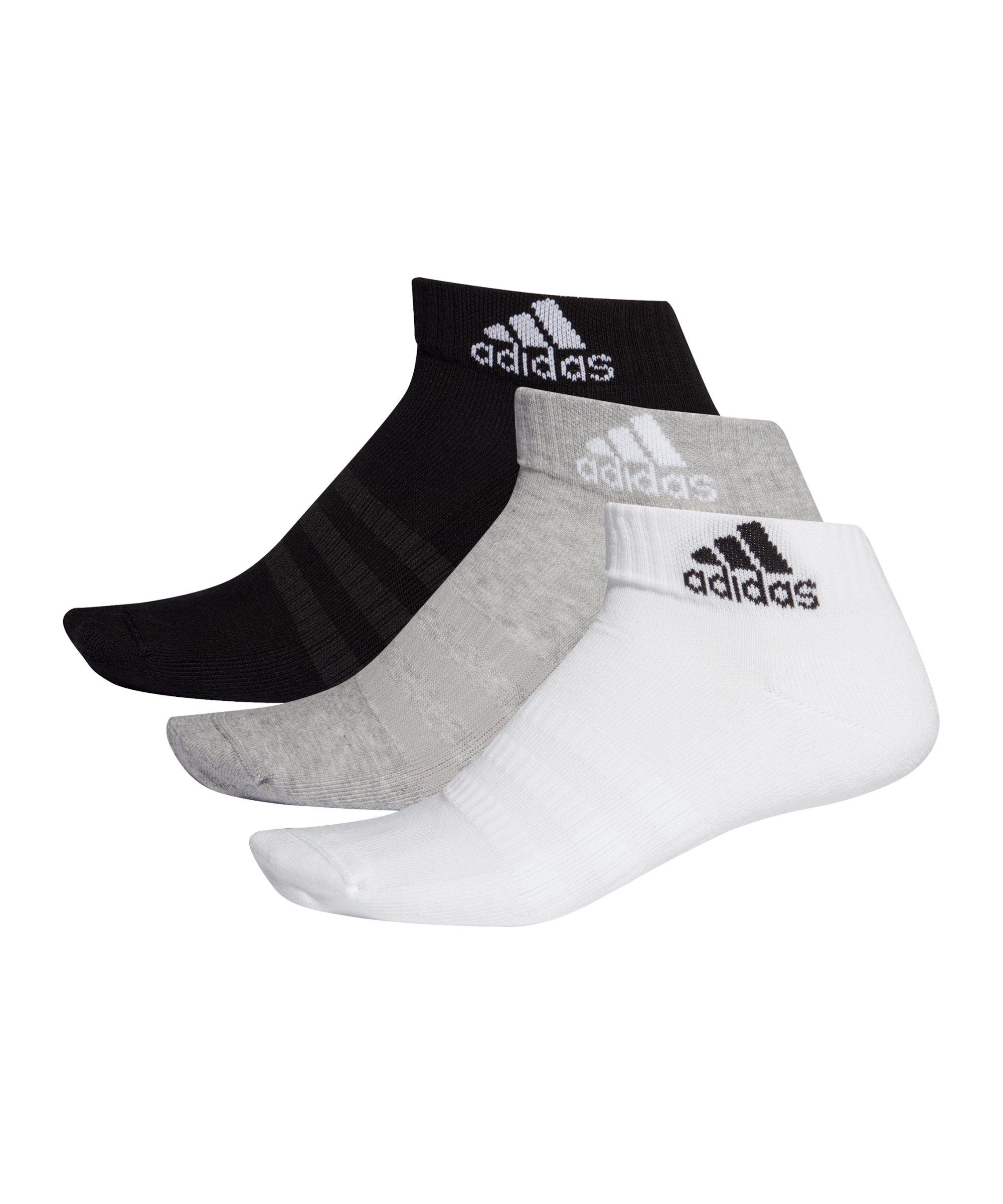 adidas Cushioned Ankle Socken 3er Pack Grau Weiss - grau