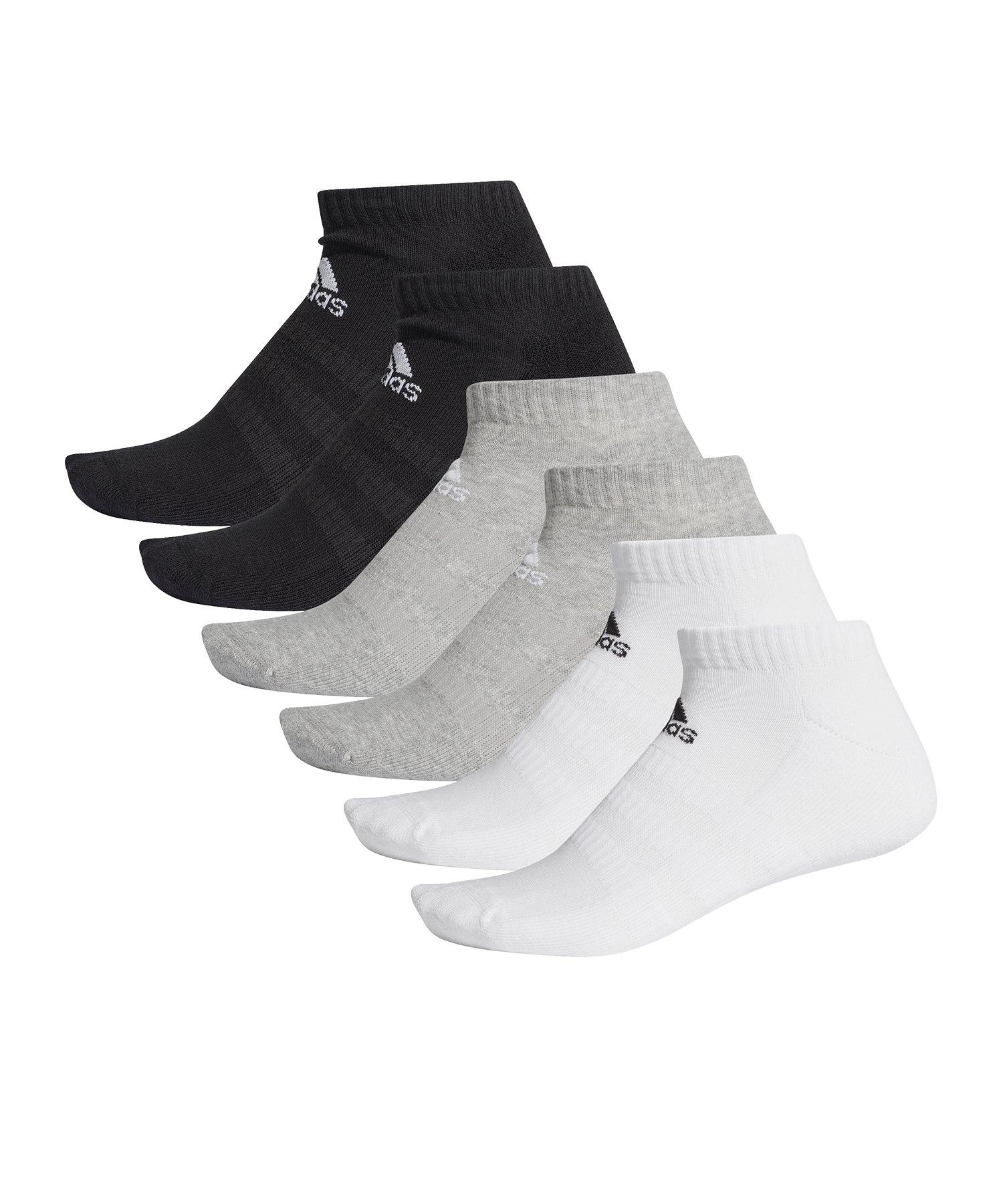 adidas Cush Low Socken Grau Weiss Schwarz - grau