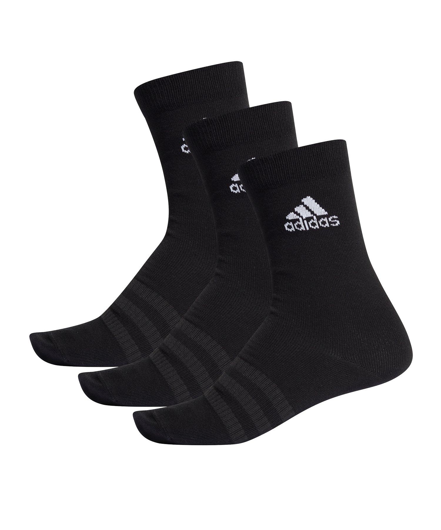 adidas Light Crew Socken 3er Pack Schwarz - schwarz
