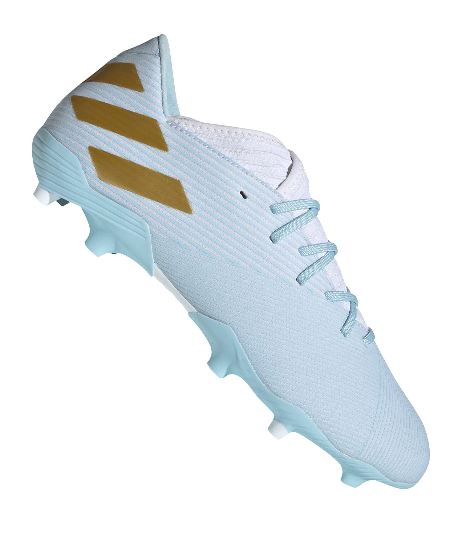 adidas NEMEZIZ Messi 19.3 FG Weiss Blau Gold - weiss