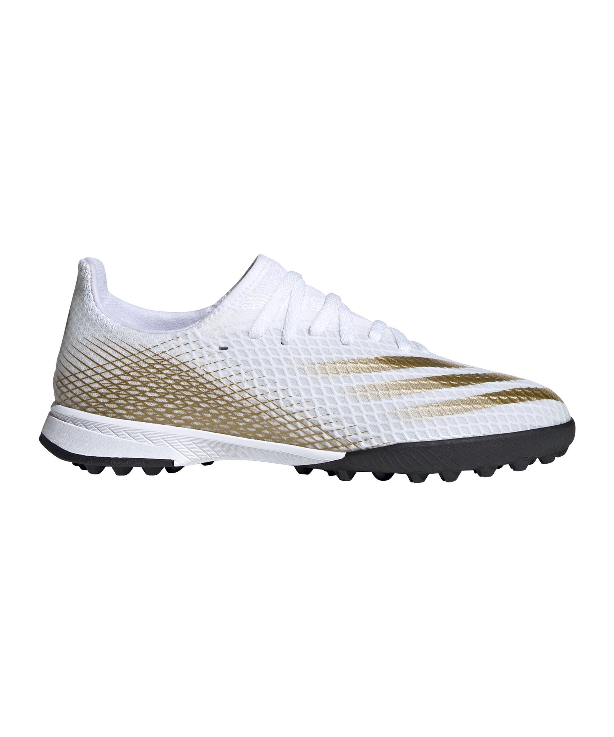 adidas X GHOSTED.3 TF Inflight J Kids Weiss Gold - weiss