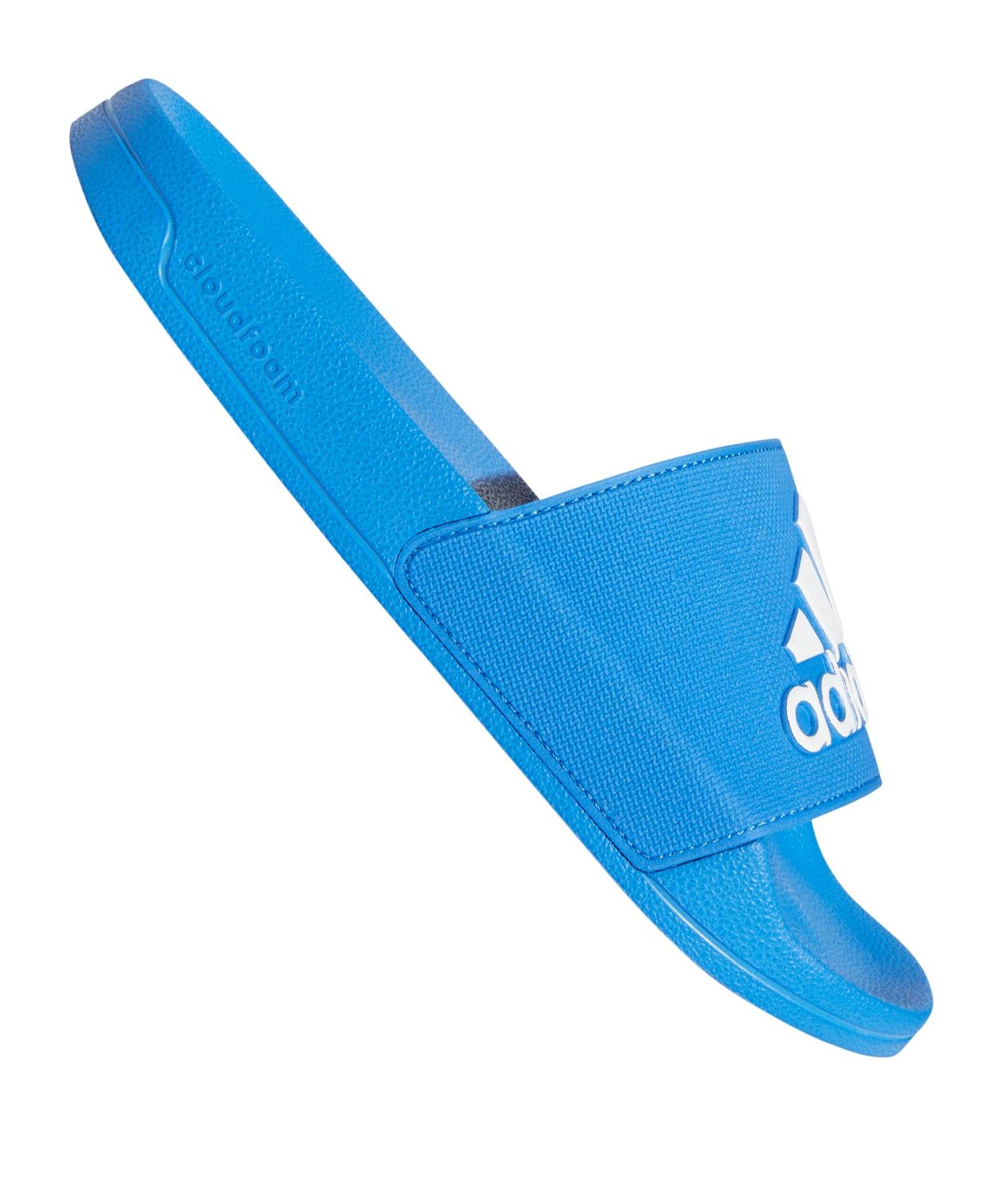 adidas Adilette Shower Badelatsche Blau Weiss - blau