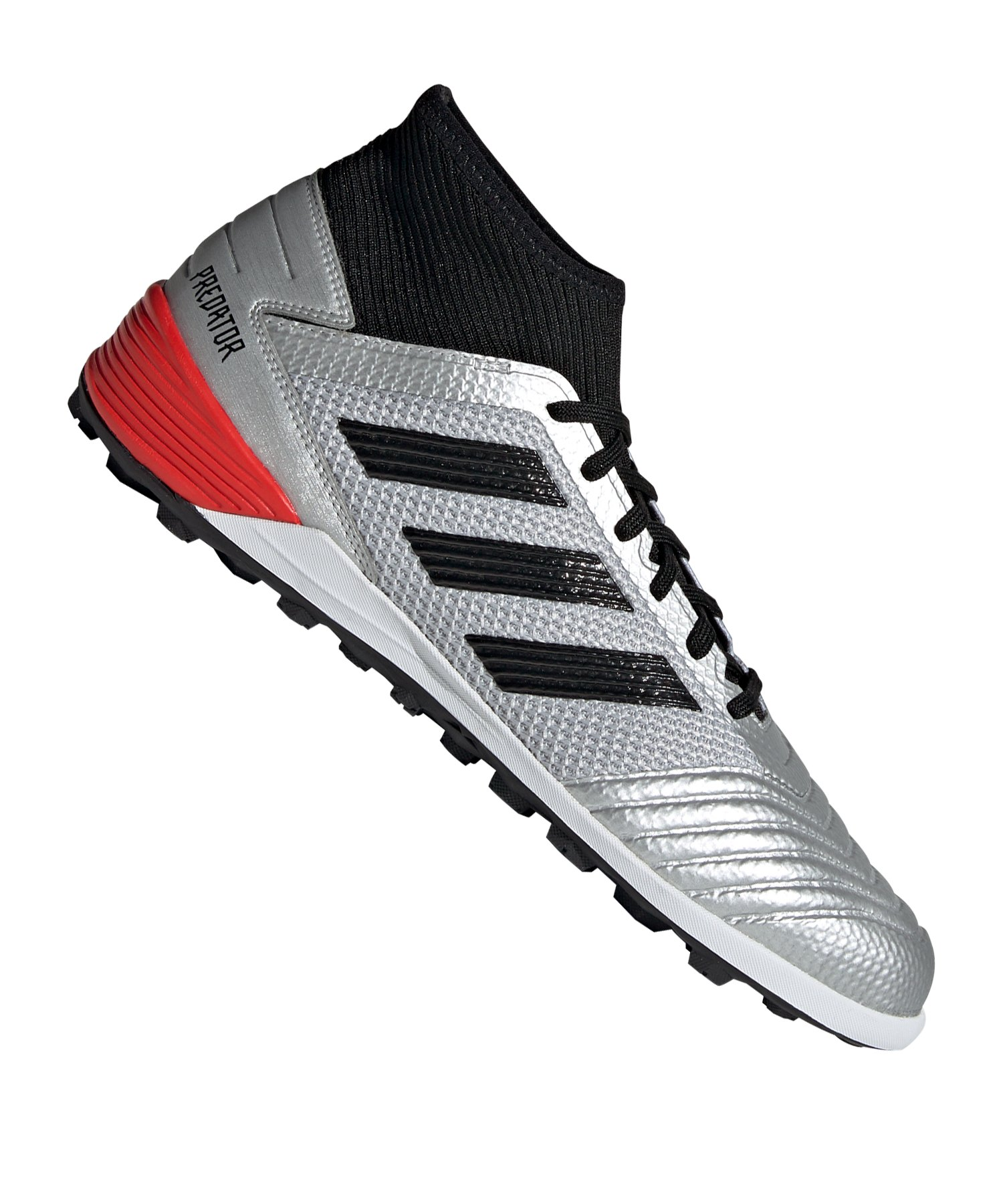 adidas Predator 19.3 TF Silber Schwarz Rot - Silber